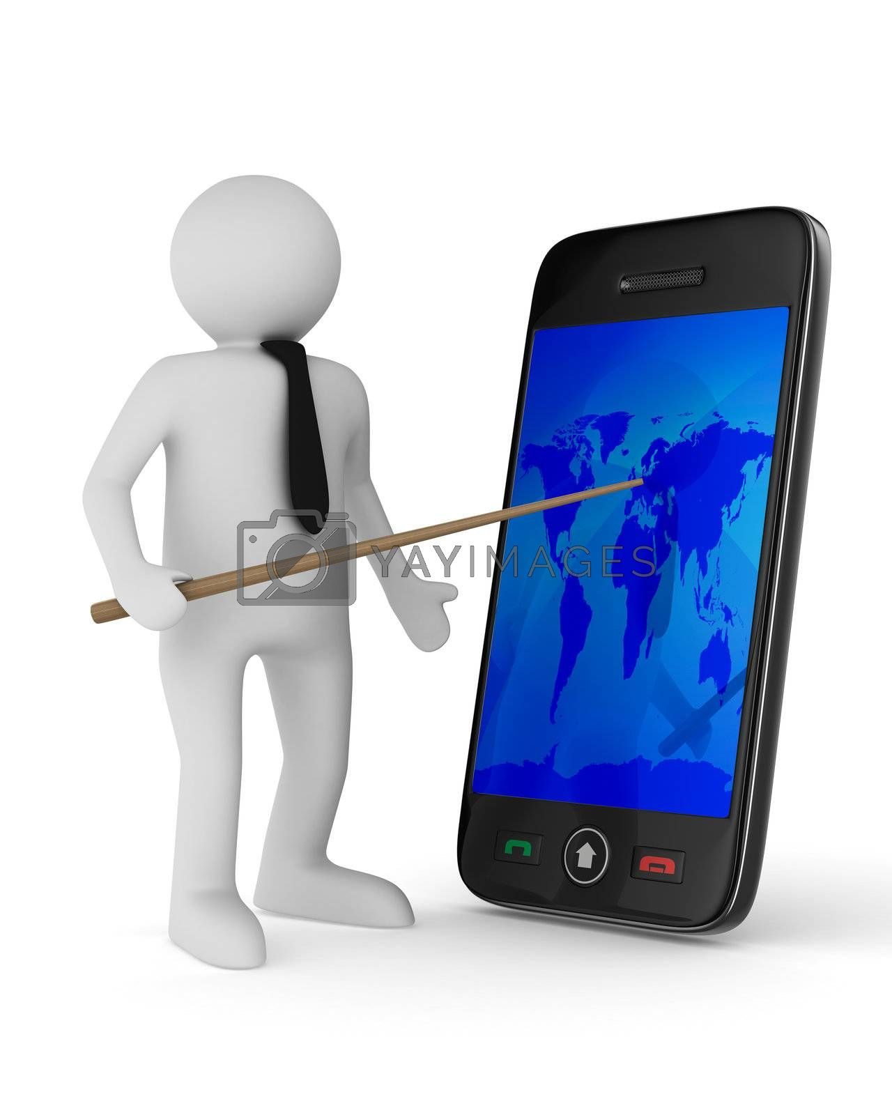 man with phone on white background. Isolated 3D image