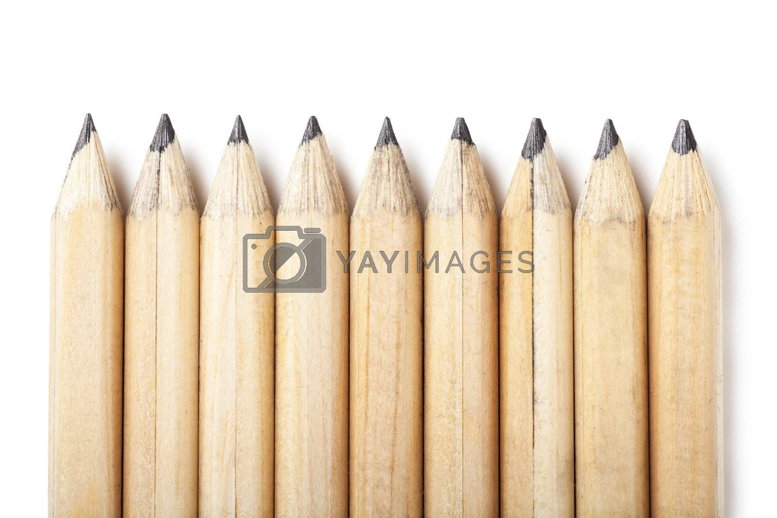 Macro view of group of lead pencils