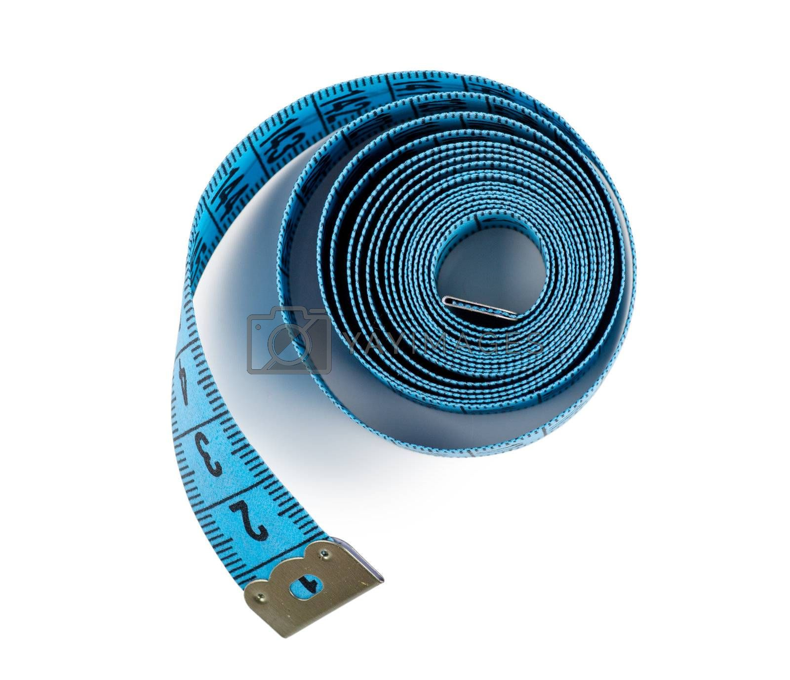 Closeup view of blue measuring tape isolated over white background