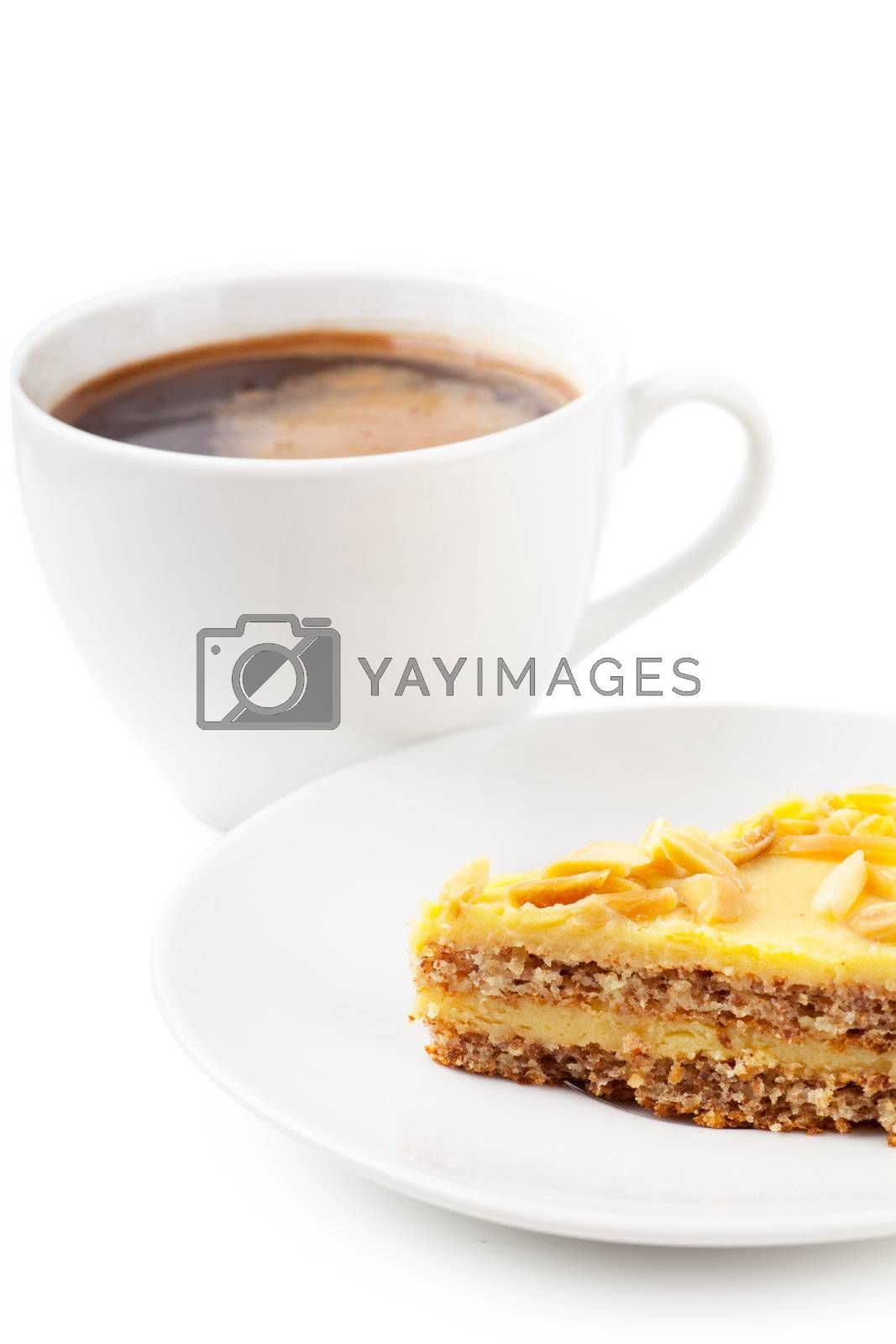 Cup of coffee and pie on a white plate