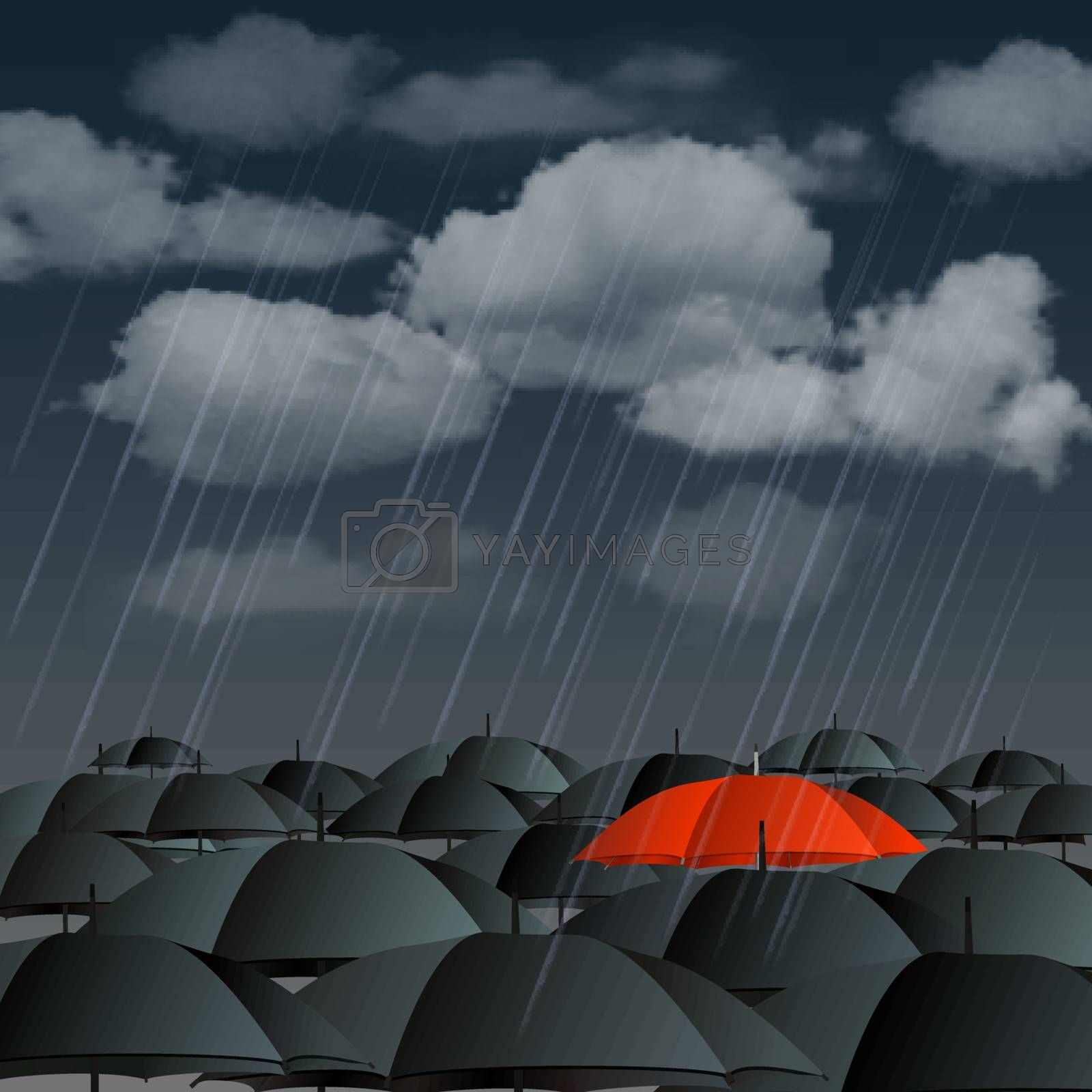 Standing out from the crowd, high angle view of red umbrella over many dark ones. Vector illustration