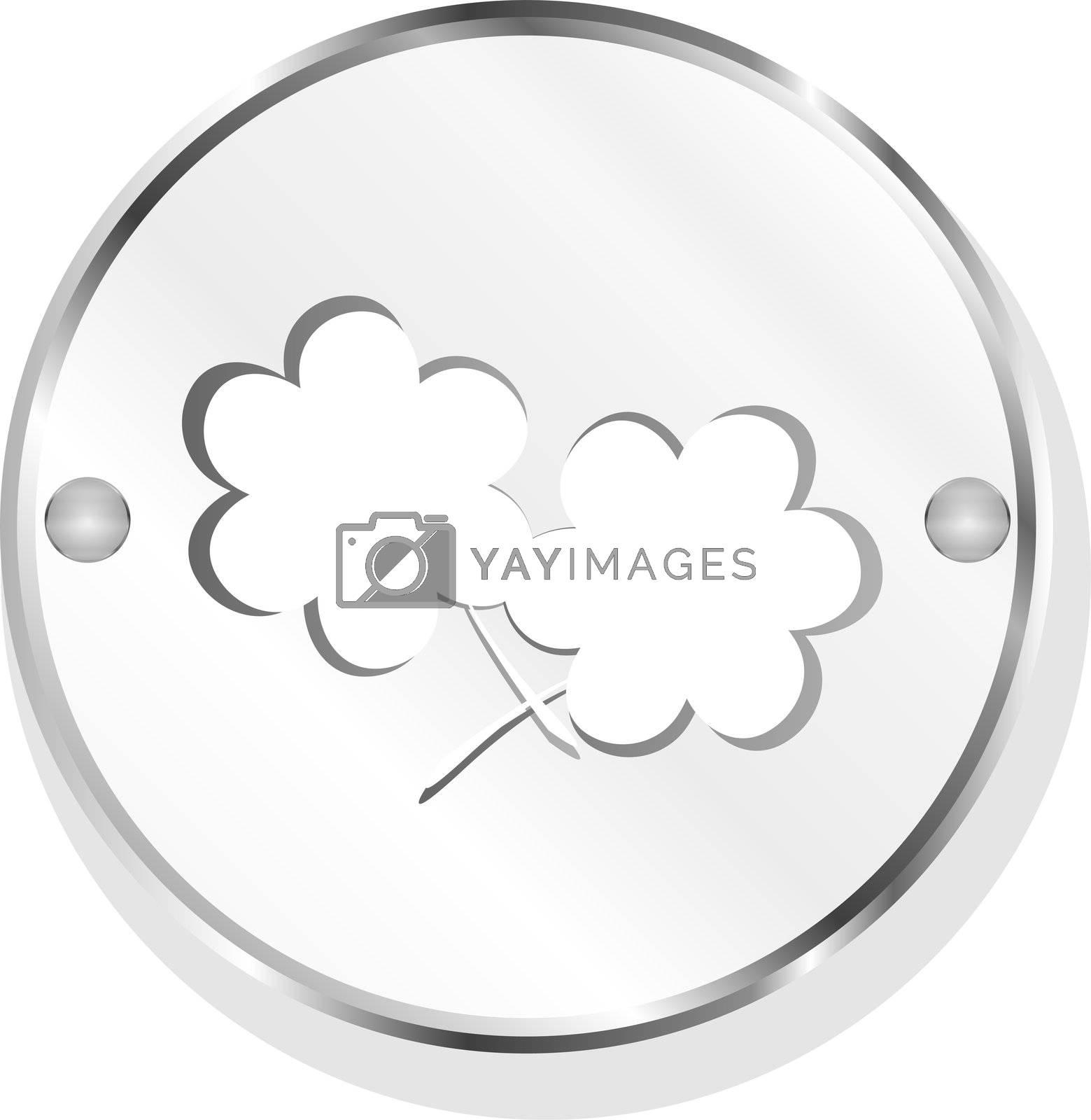 leaf icon on metal internet button original illustration