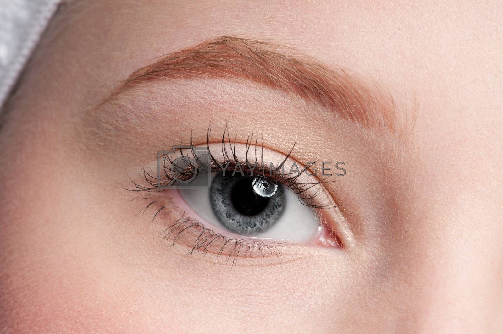 Close-up face of beauty young woman - eye make-up zone