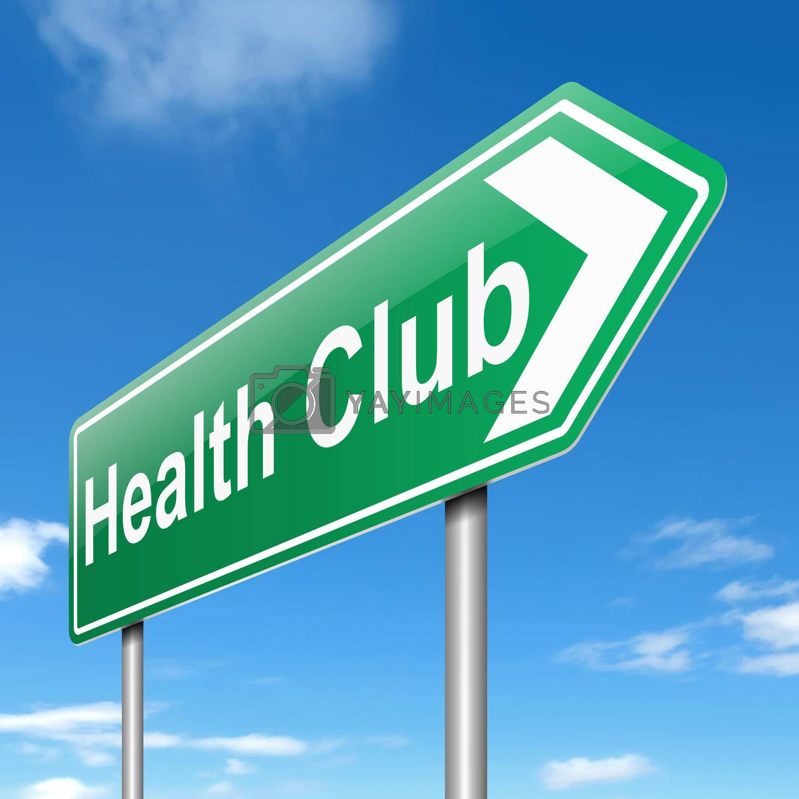 Illustration depicting a sign with a health club concept.
