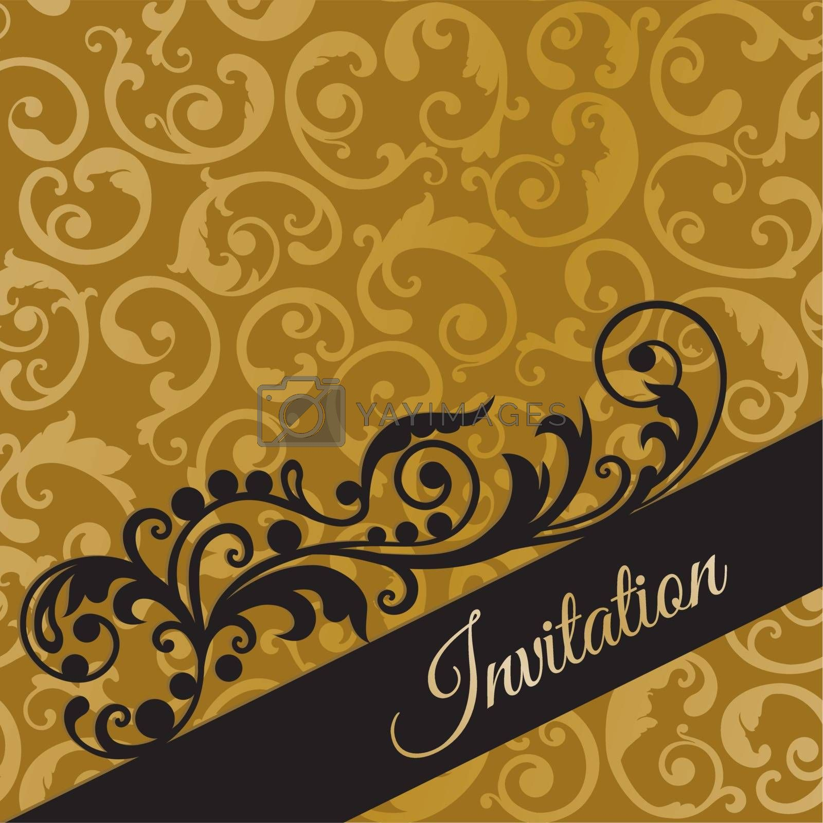 Luxury black and gold invitation card with swirls Royalty Free Stock Image  | YAYIMAGES - Royalty Free Stock Photos and Vectors