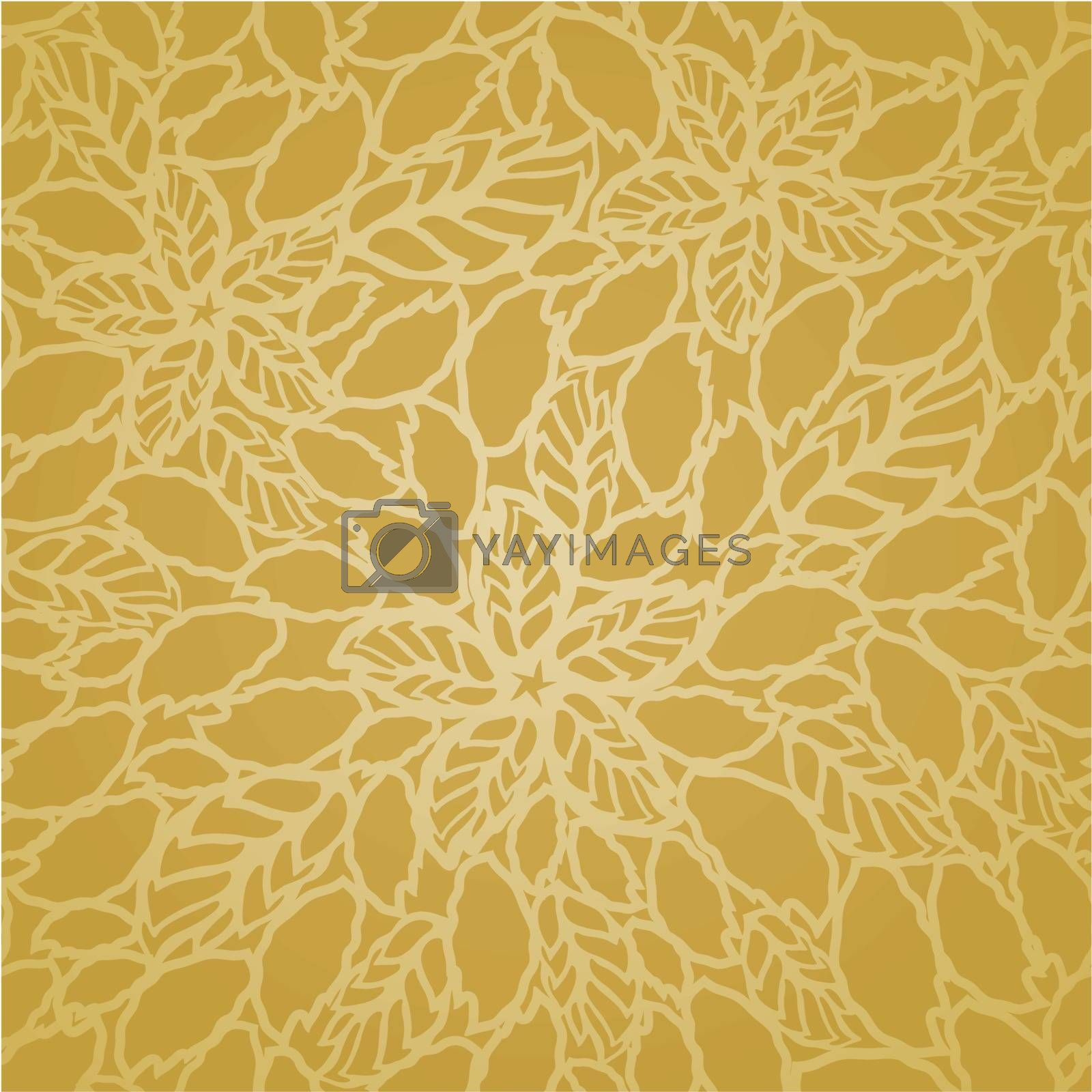 Seamless golden leaves and flowers lace wallpaper pattern. This image is a vector illustration.