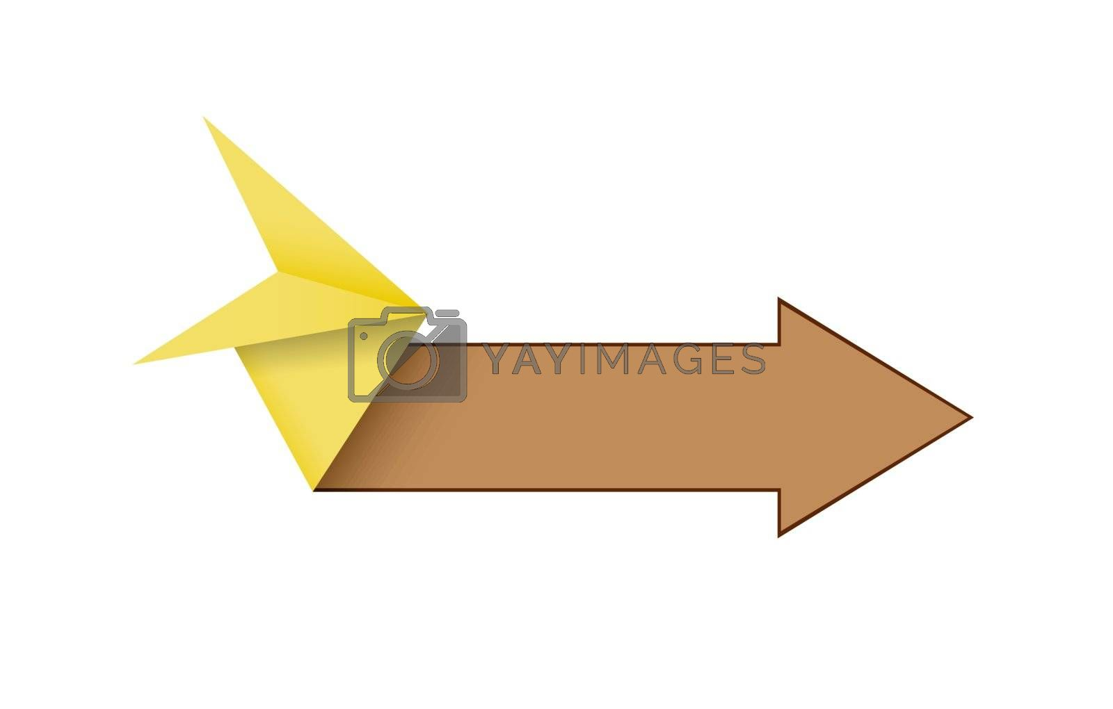 The blank origami style arrow in yellow and brown color