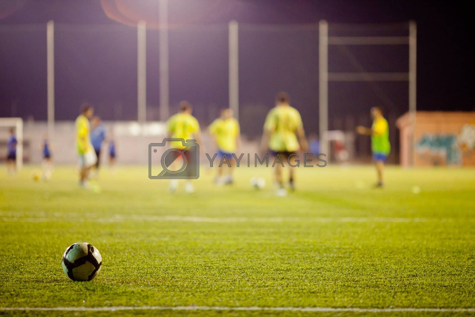 football match during training on stadium