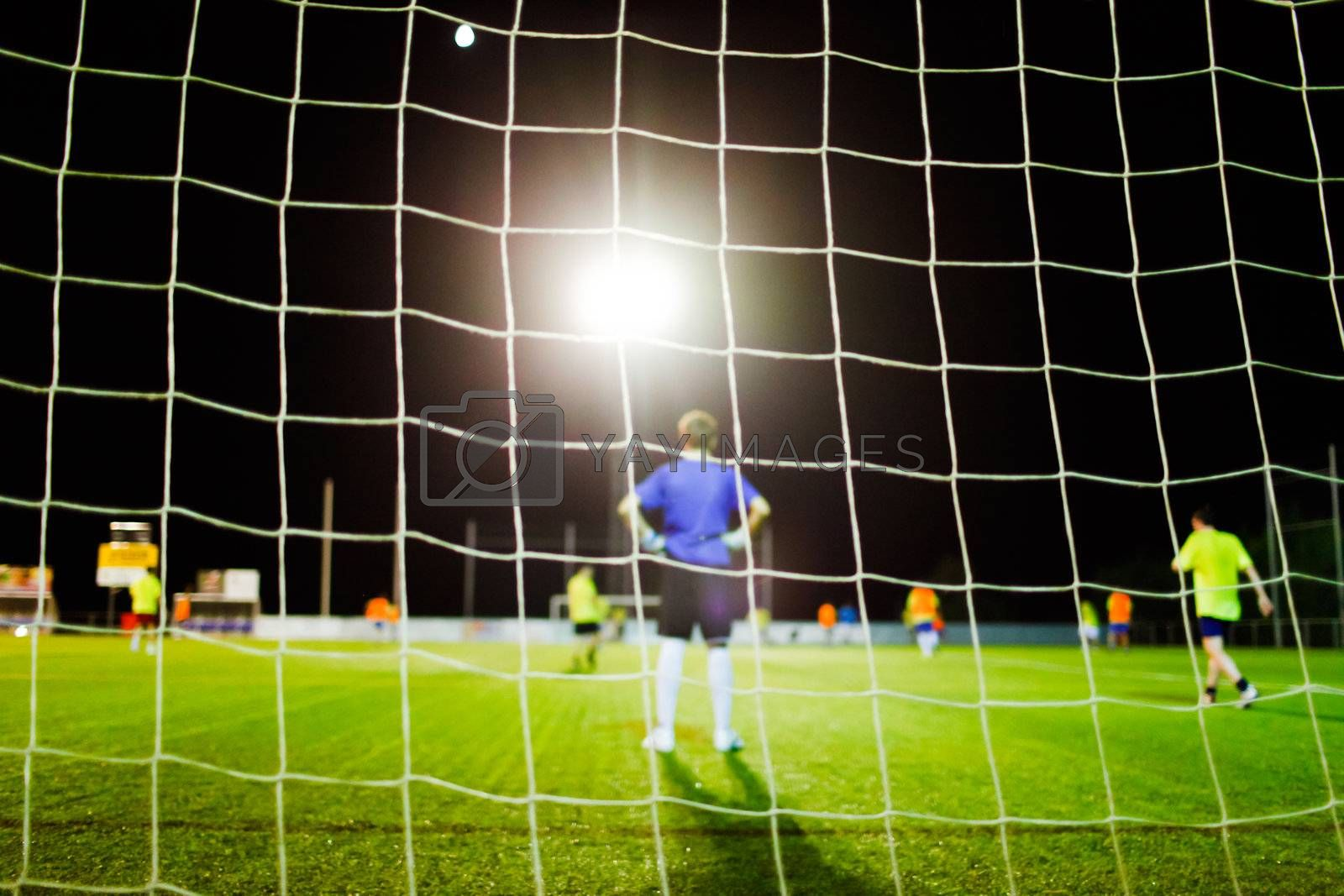 football match during training on stadium unfocused background