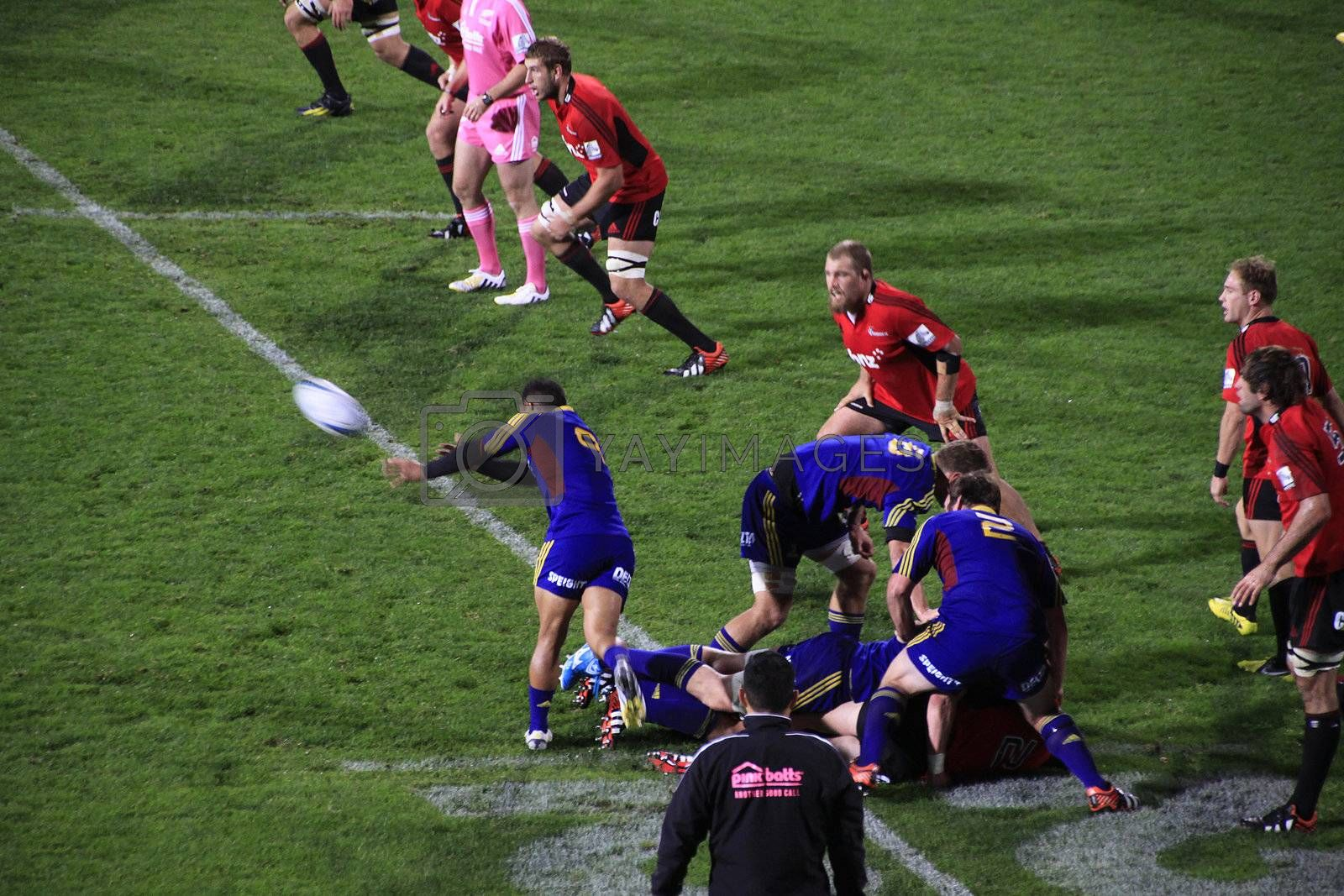 CHRISTCHURCH-April 20: Super Rugby  match between Canterbury Crusaders and Otago Highlanders held at the AMI Rugby Stadium in Christchurch, New Zealand on Saturday April 20, 2013.