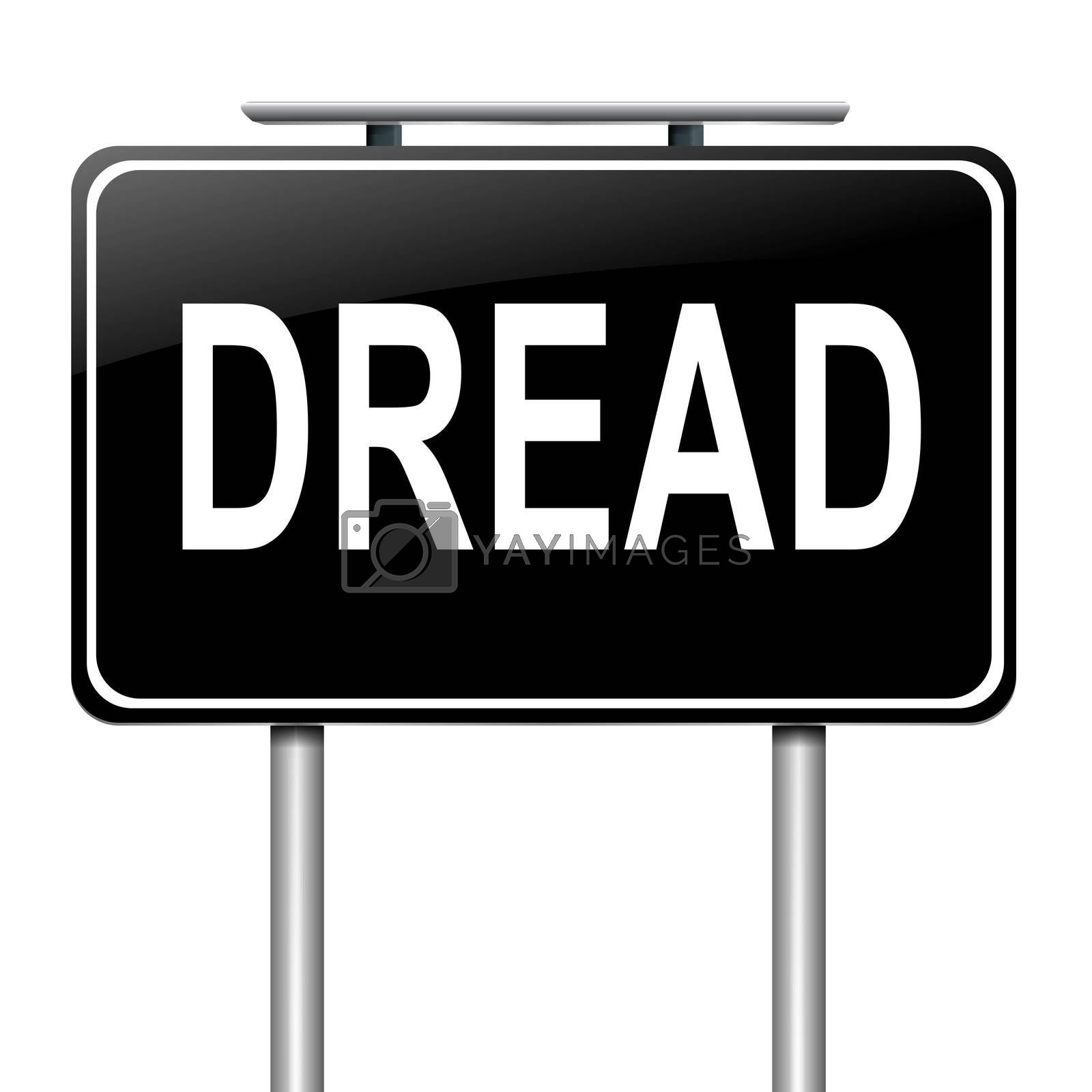 Illustration depicting a sign with a dread concept.
