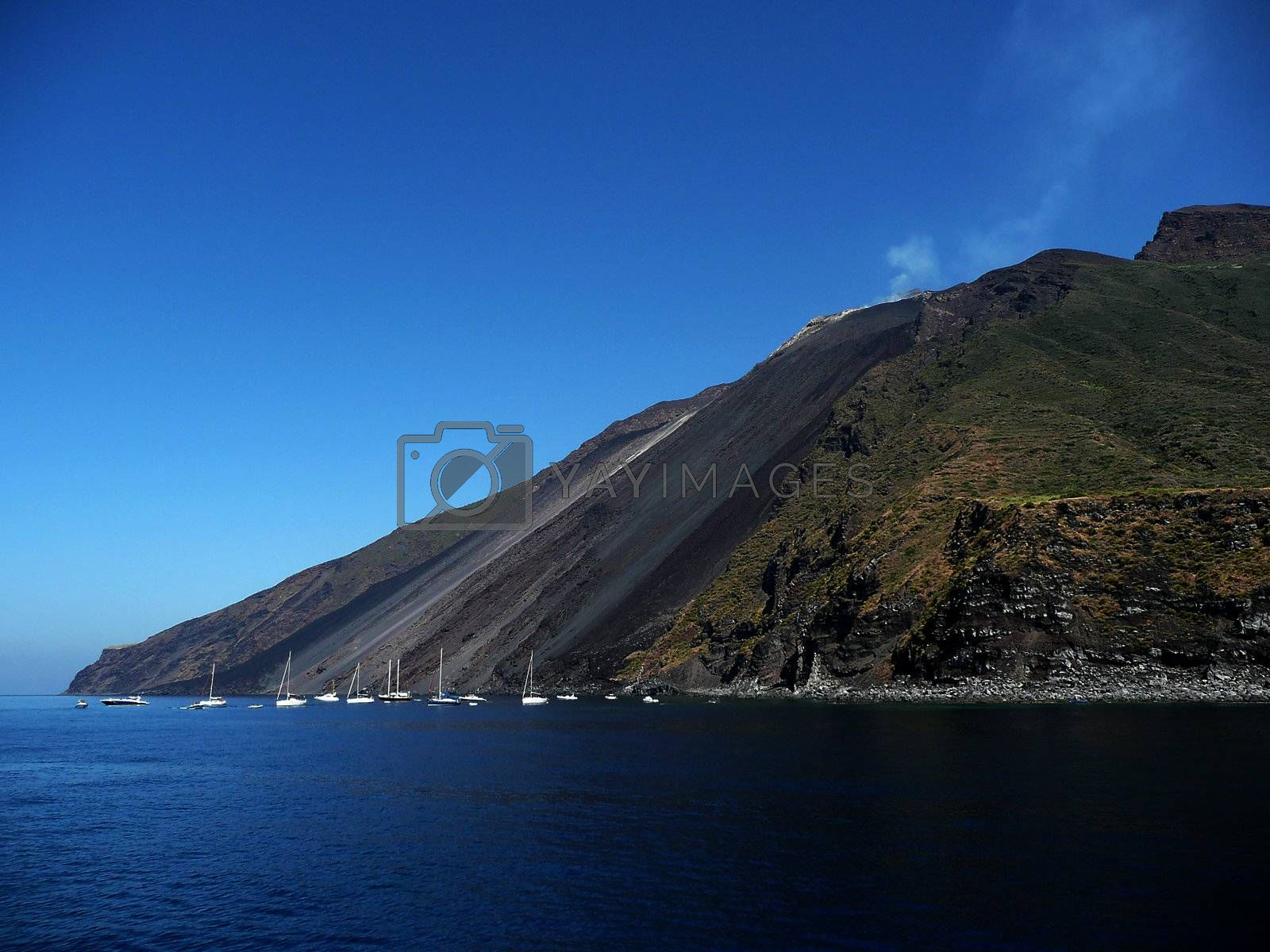 Stromboli, active volcano which is part of the Aeolian Islands Archipelago