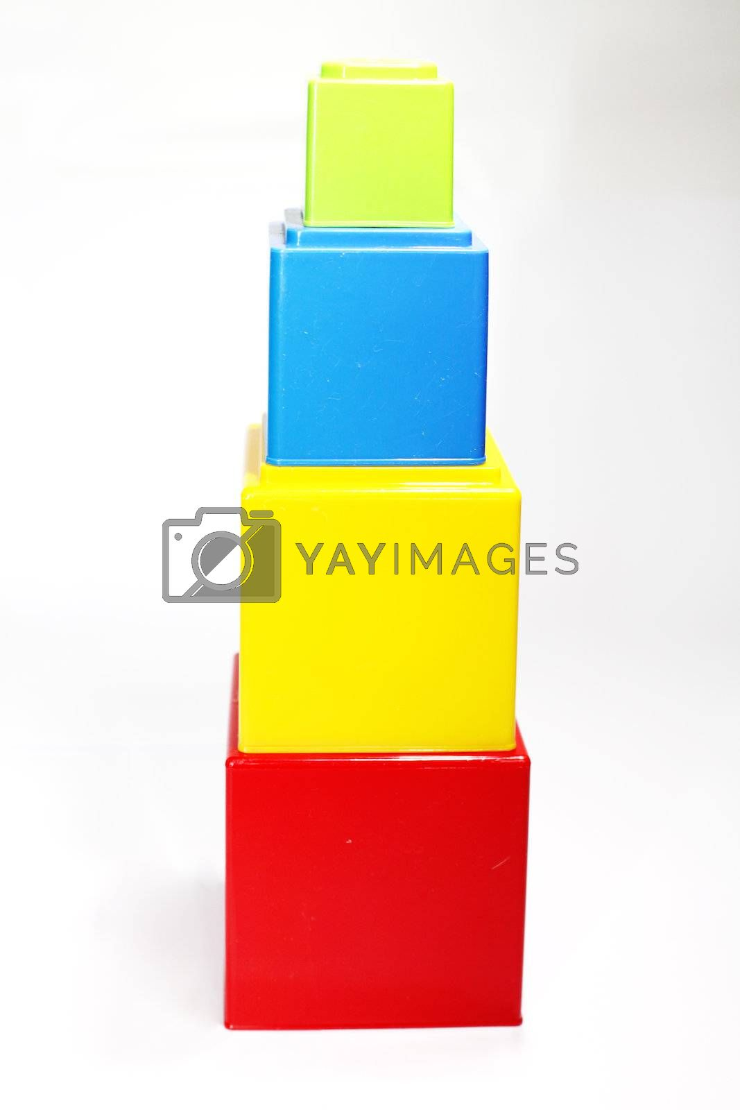 tower made of colorful plastic cubes