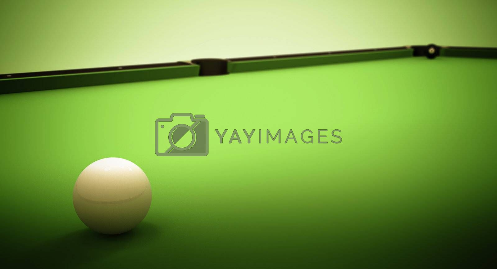 A white ball in the center of a pool table and the 8 ball near the left corner pocket.