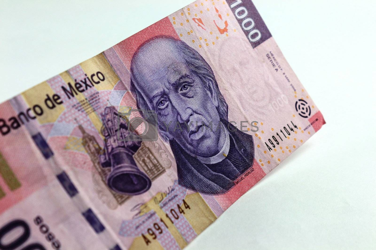 Angle view of a Mexican thousand pesos bill