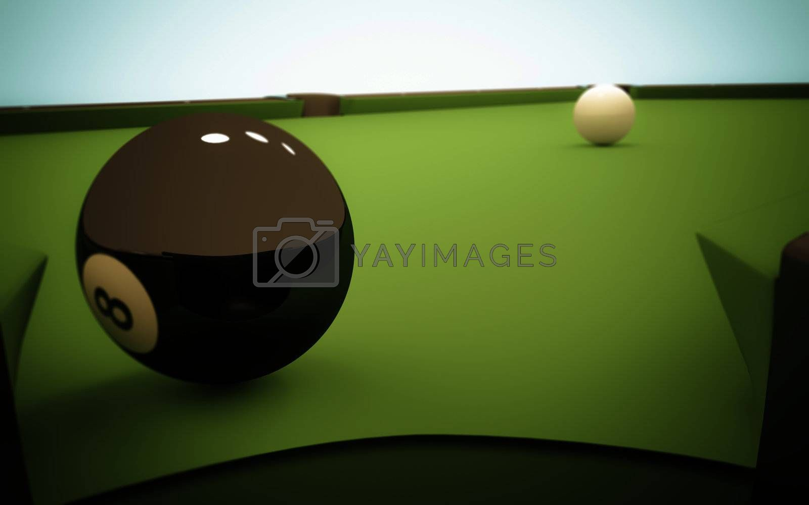 A white ball in the center of a pool table and the 8 ball near the corner pocket, viewed from within the pocket.
