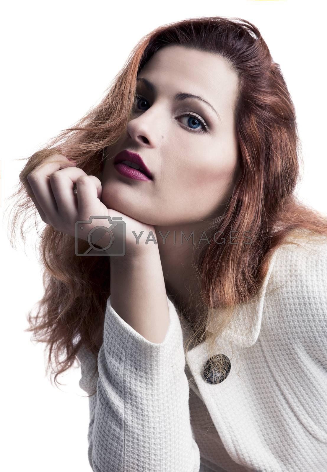 Beautiful fashion woman wearing  a white coat, isolated on white background