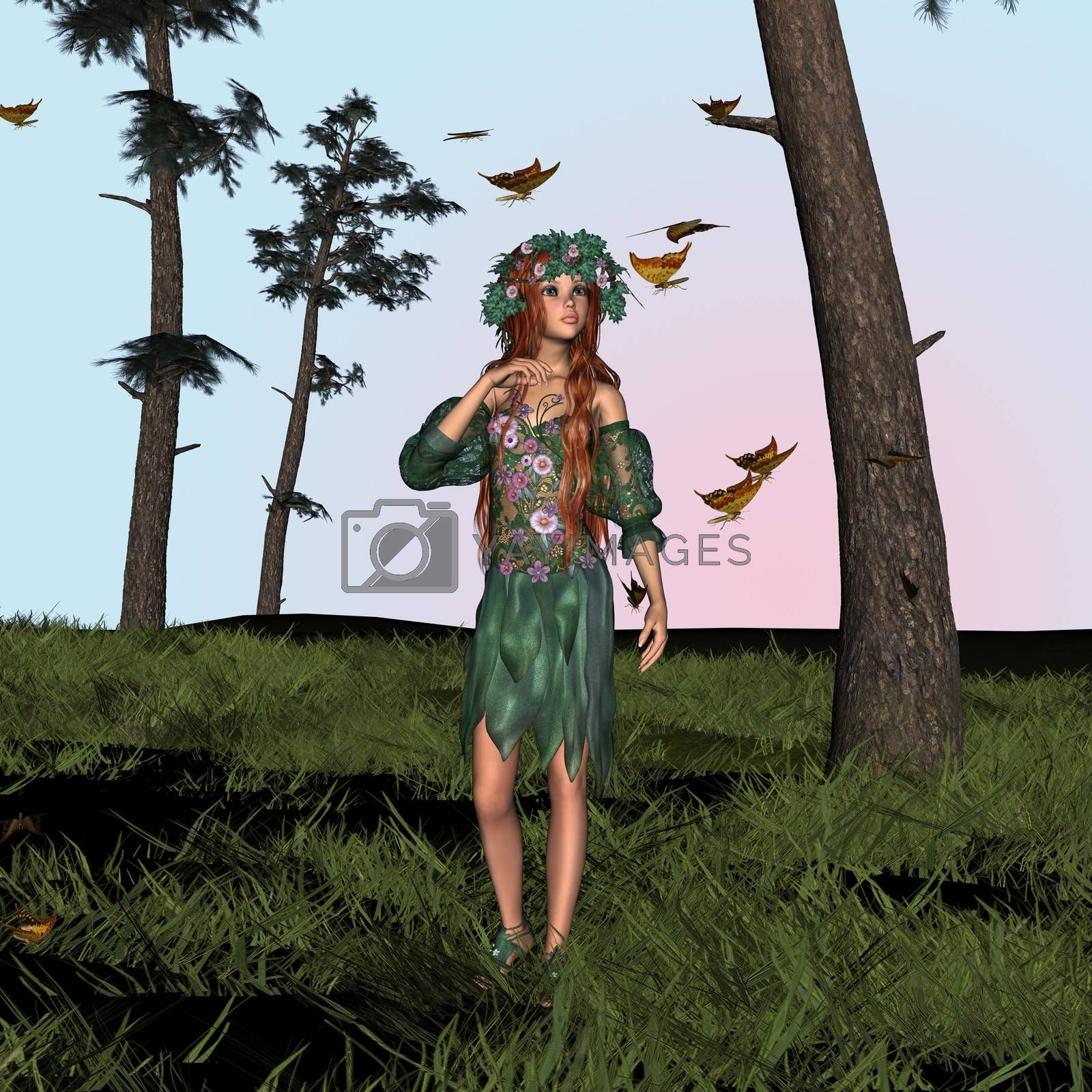 3D digital render of a beautiful spring girl with butterflies in the woodland