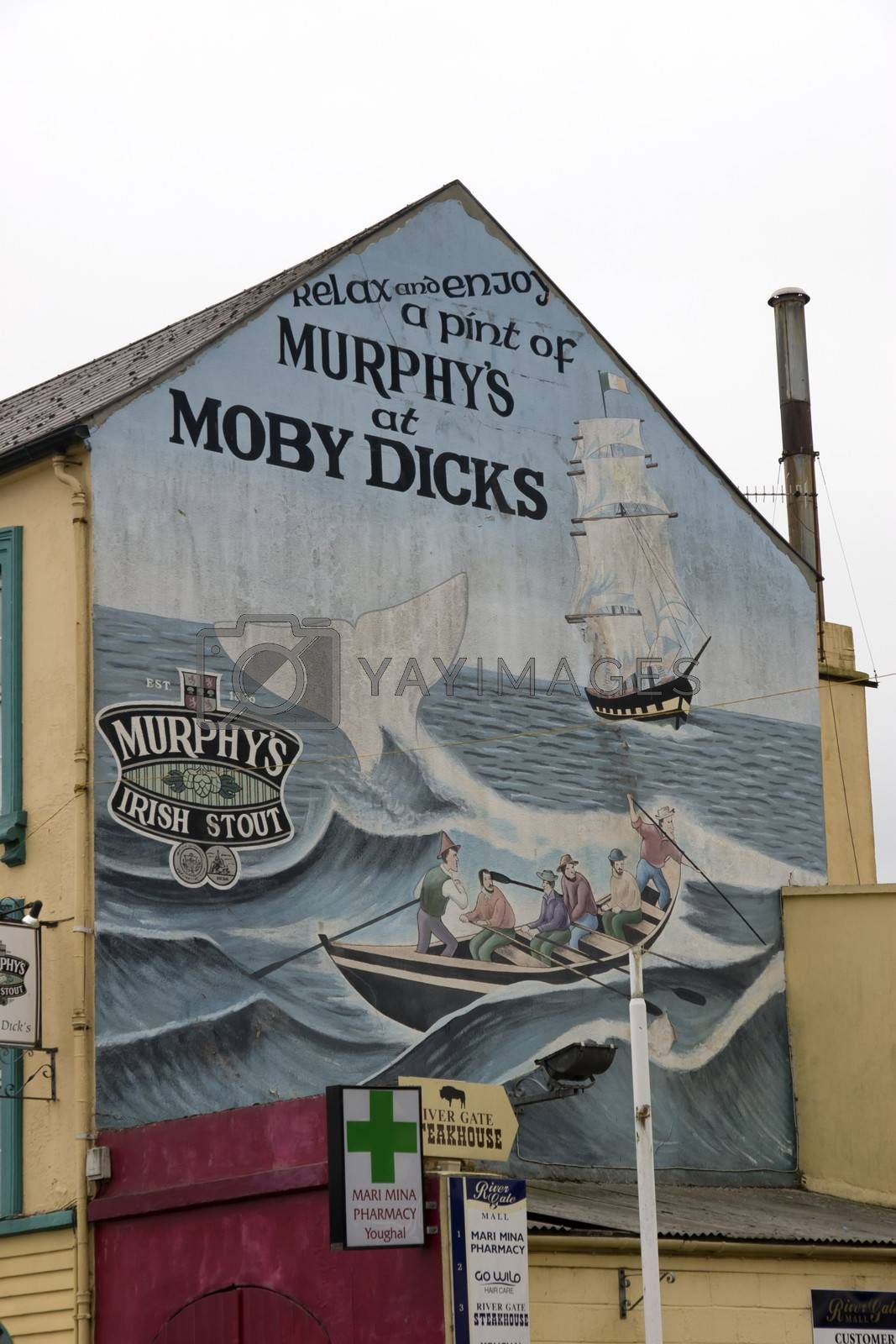 painted mural on the side of Moby dick's pub in Youghal county Cork Ireland