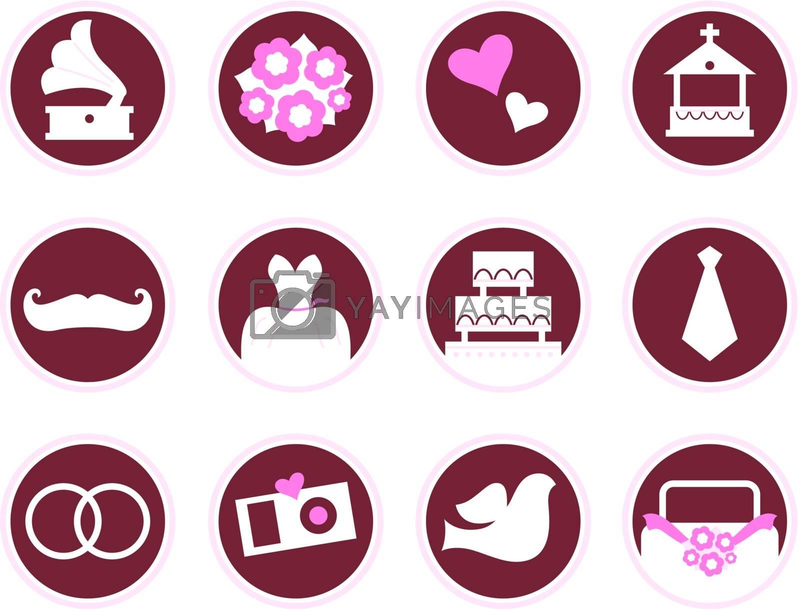 Wedding design elements - brown and pink. Vector