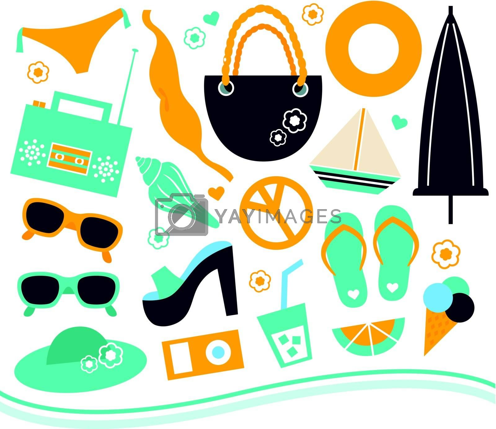 Various summer and vacation objects set. Vector Illustration