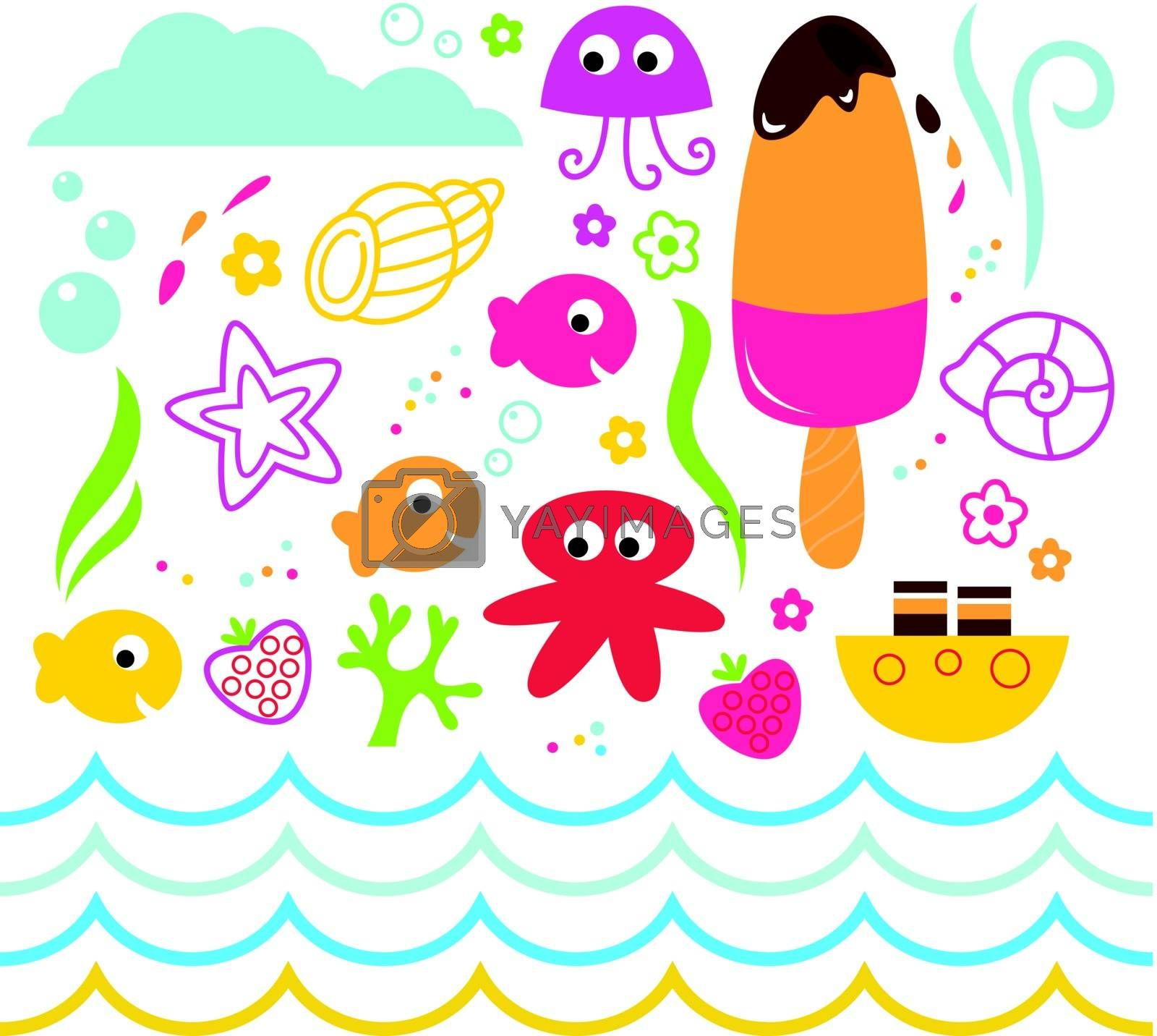 Underwater design elements for your party. Vector