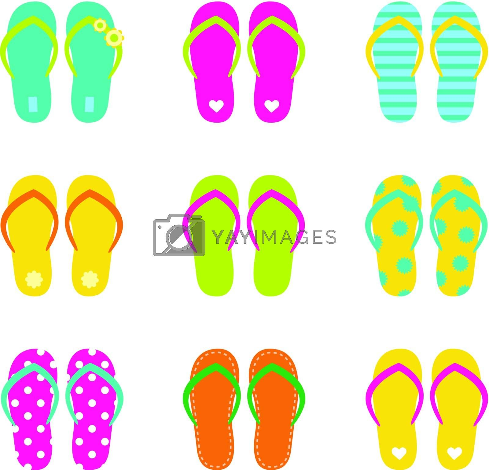 Colorful summer flip flops collection isolated on white. Vector