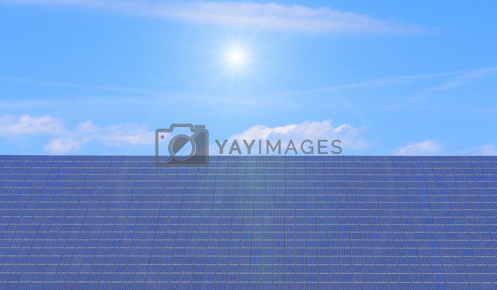 solar panels on blue sky