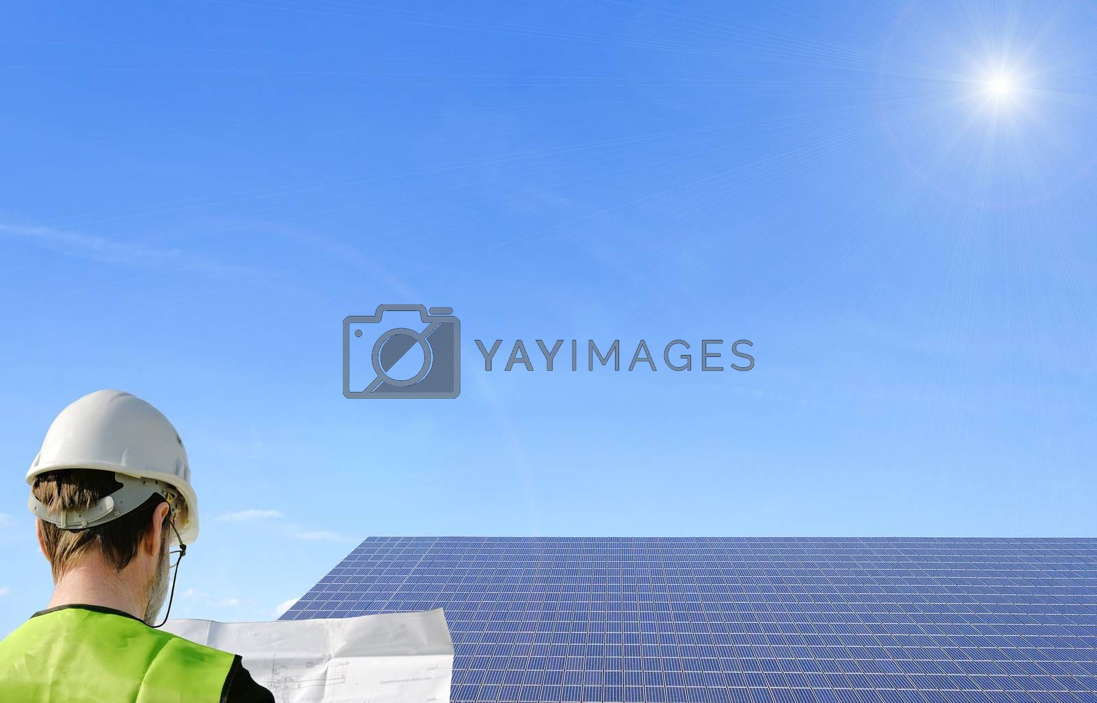 a technician reading a plan ,with solar panels in the background