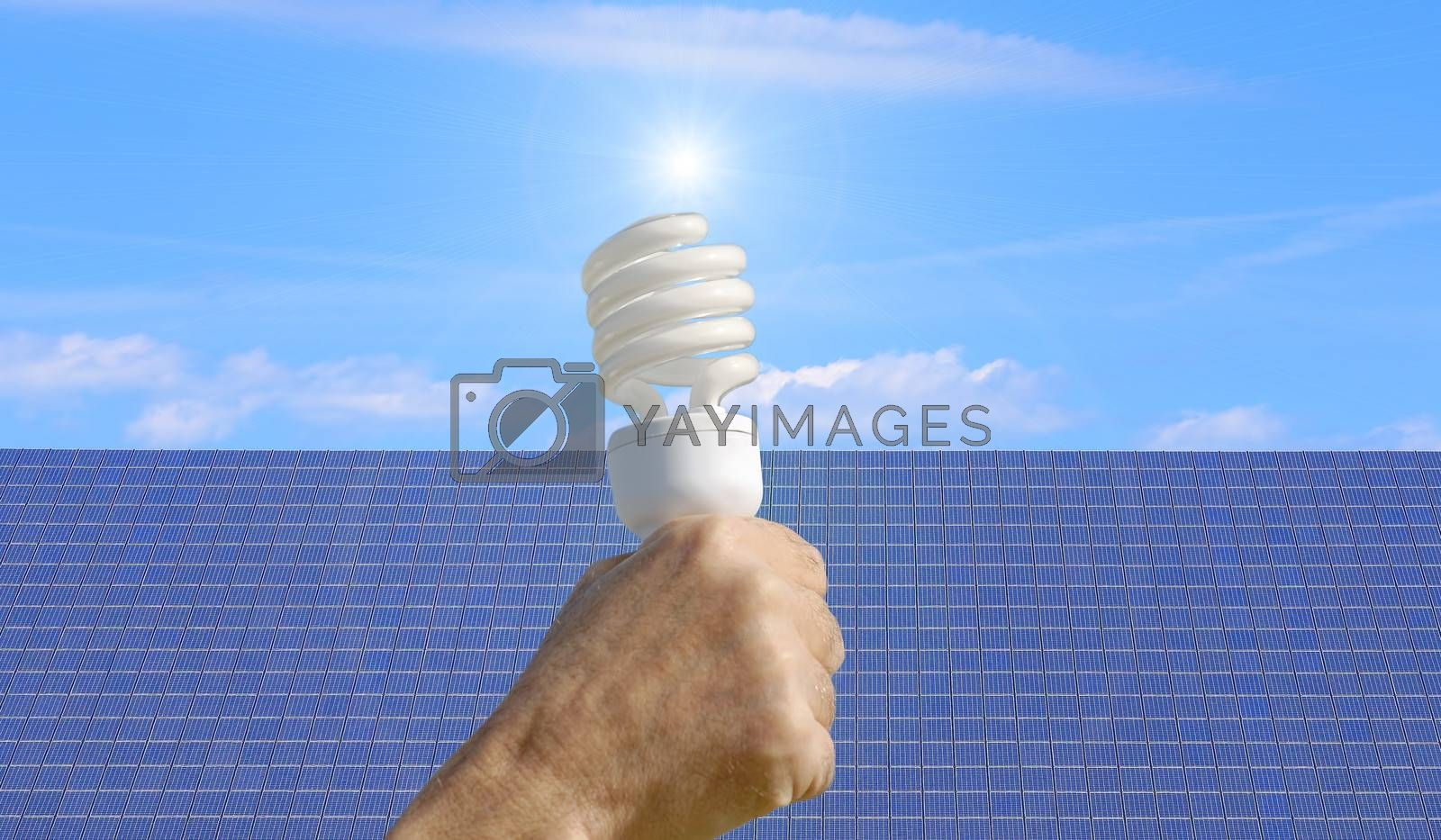 energy saving bulb and solar panel in the background