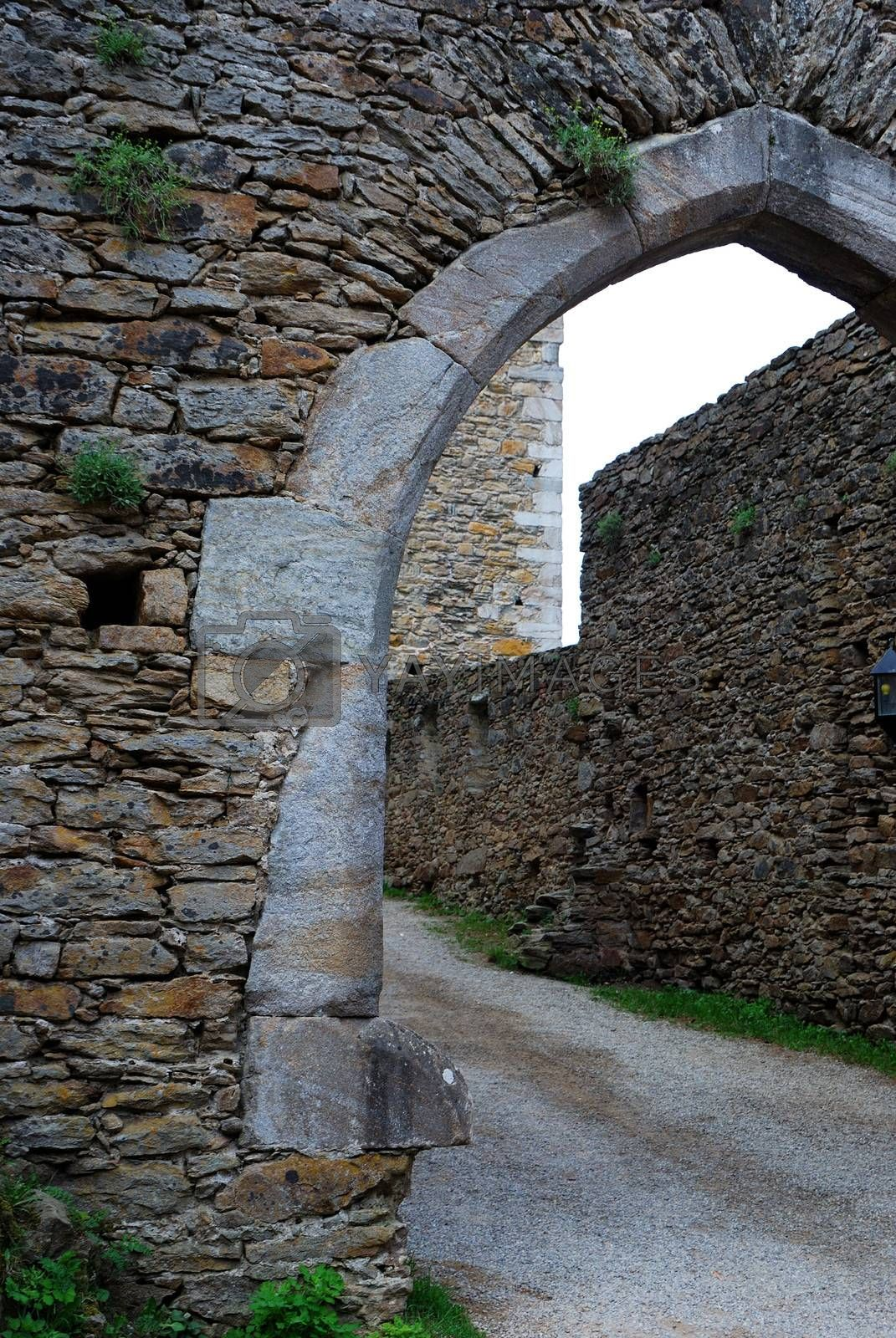old castle gate passage of stone