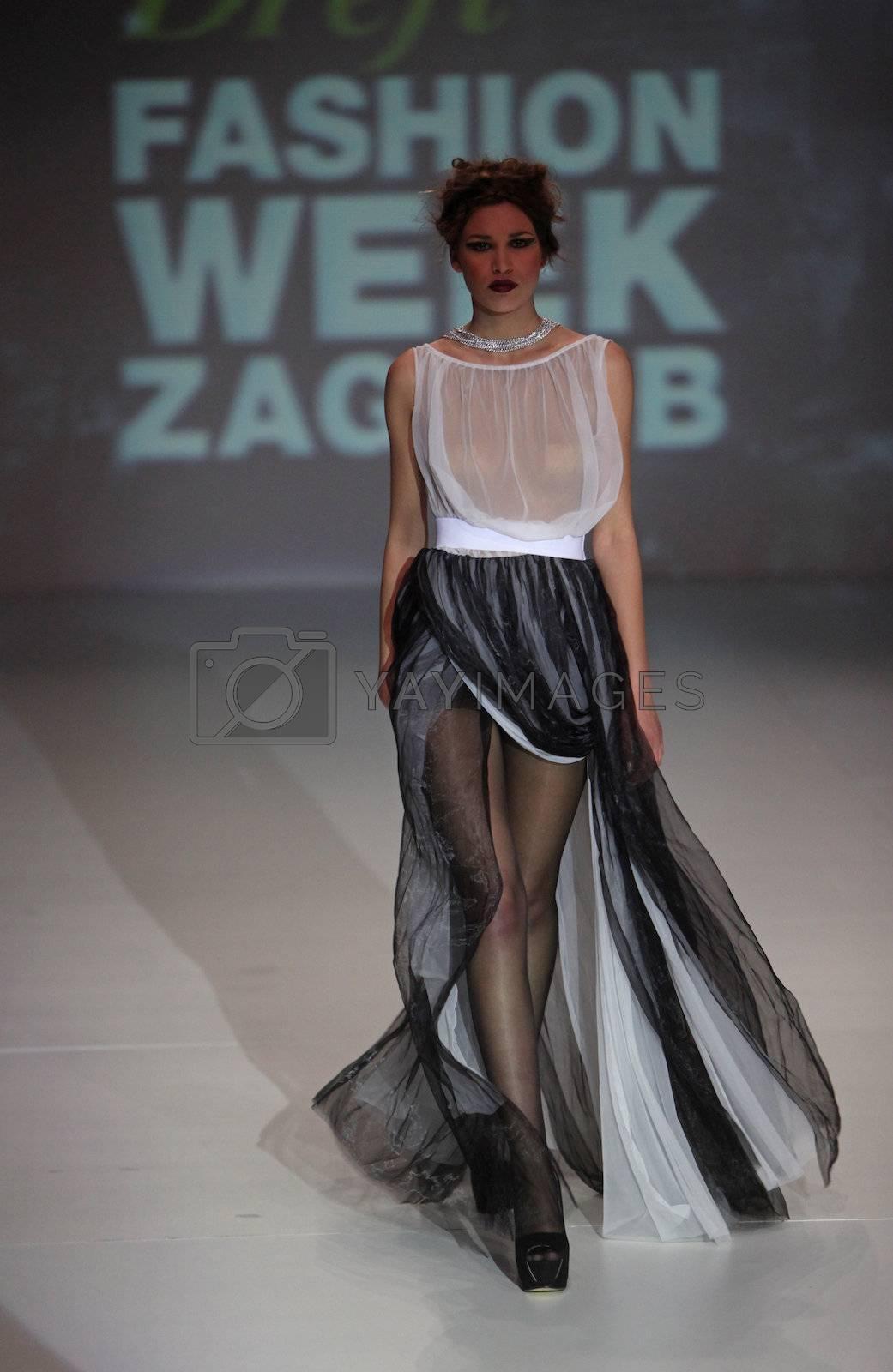 "ZAGREB, CROATIA - May 10: Fashion model wears clothes made by Marica Pazanin on ""ZAGREB FASHION WEEK"" show on May 10, 2013 in Zagreb, Croatia."