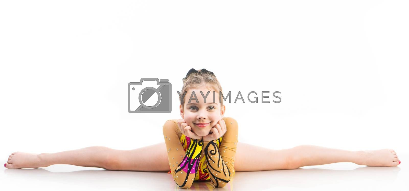 little girl gymnast on the splits on a white background