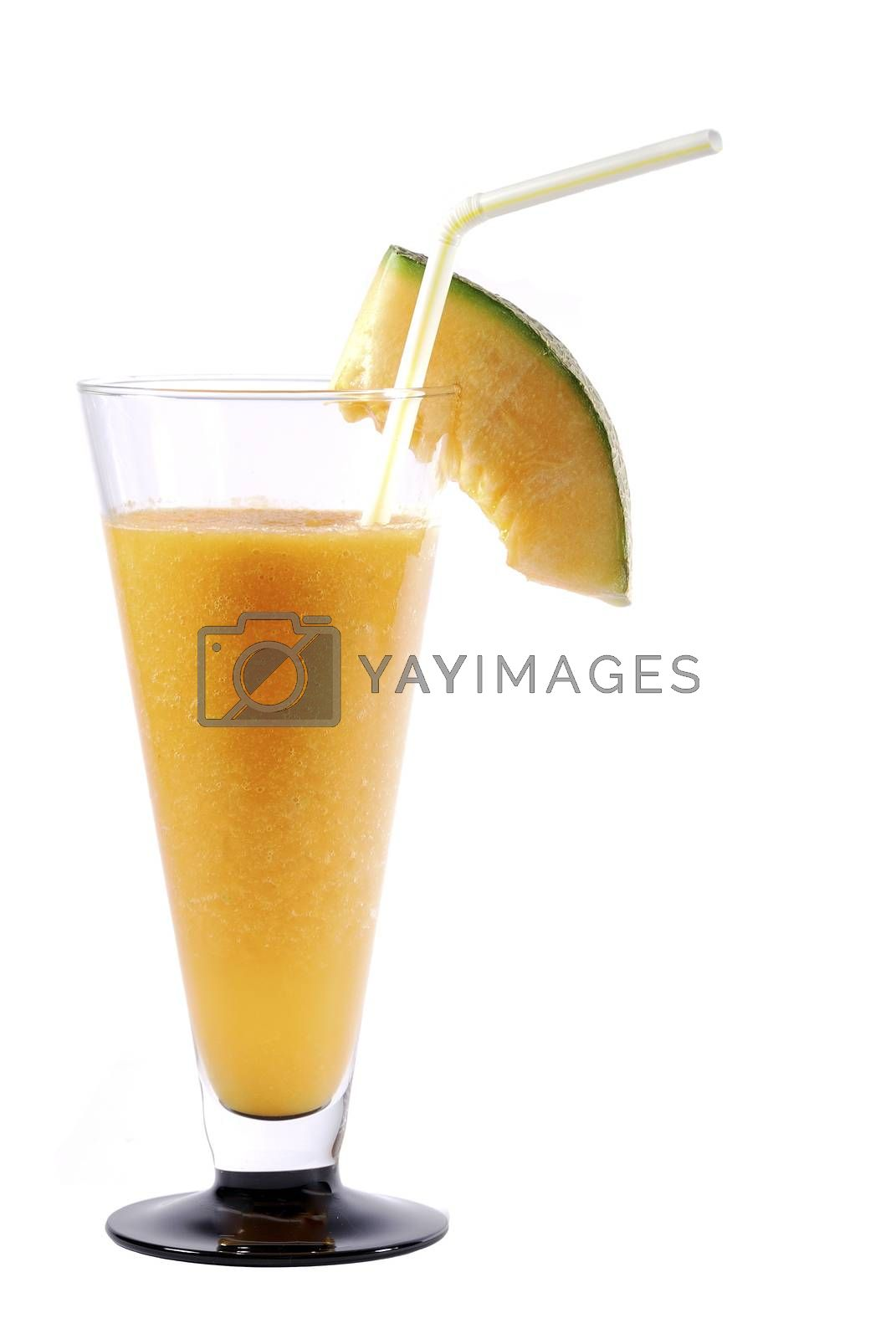 yellow juicy melons healthy ginger smoothie with drinking straw large view portrait on white background