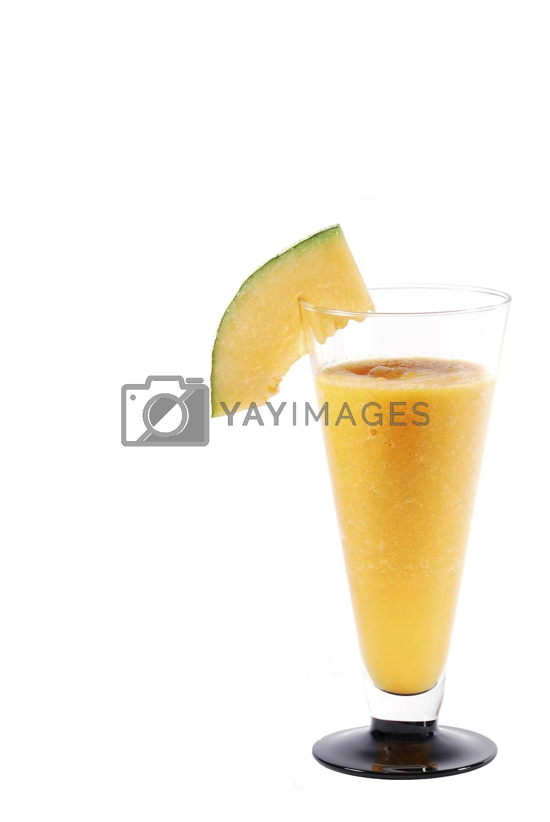 yellow juicy melons healthy ginger smoothie big closeup on white background portrait right