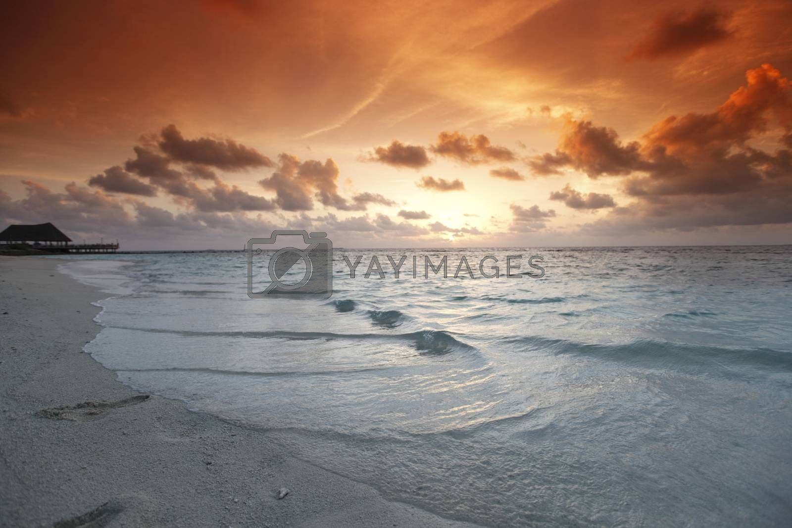 Beautiful view of sea and empty beach on sunset