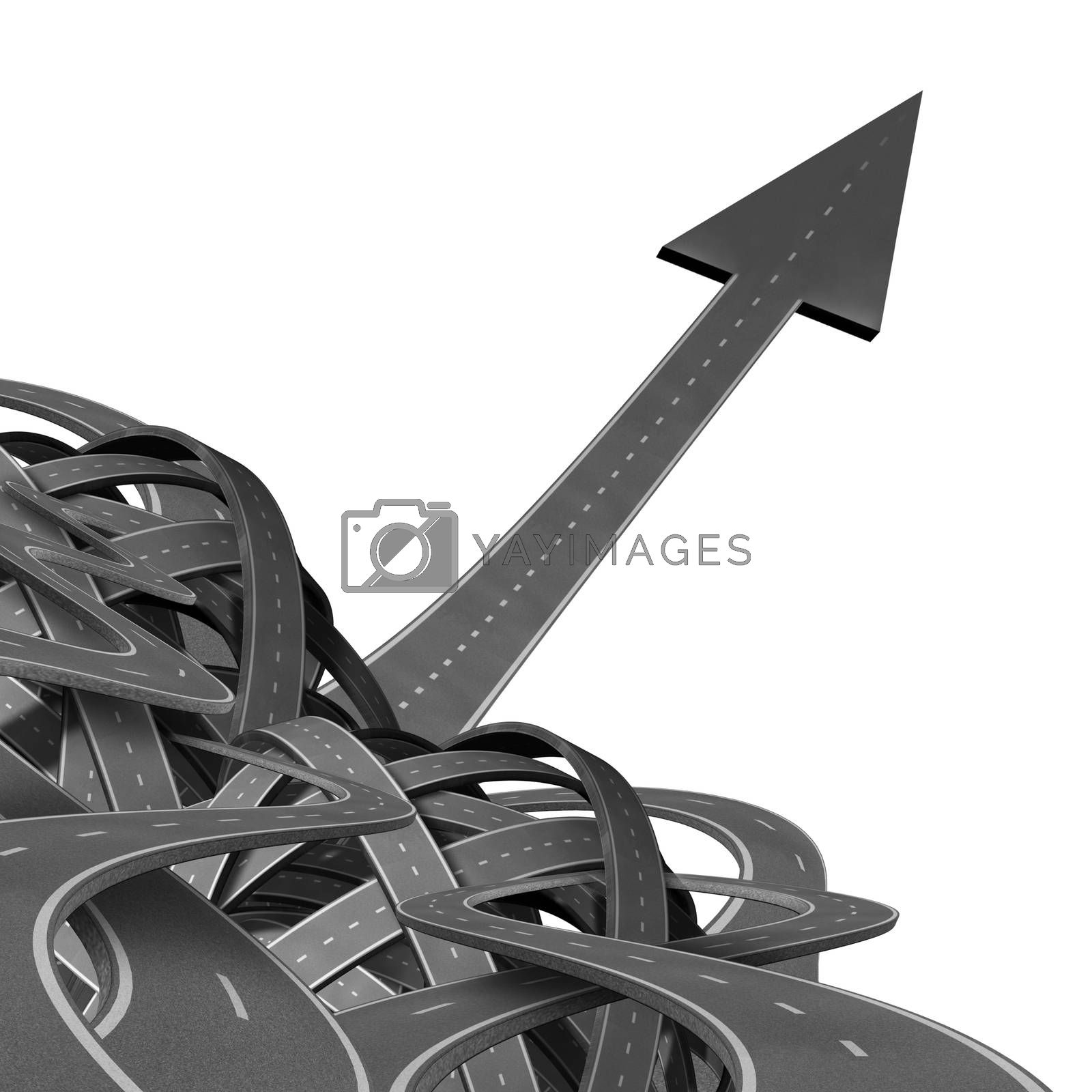 Breaking free and standing out from the crowd as a pile of tangled confused roads and a straght successful highway emerging as an arrow shape in a focused strategic motion.