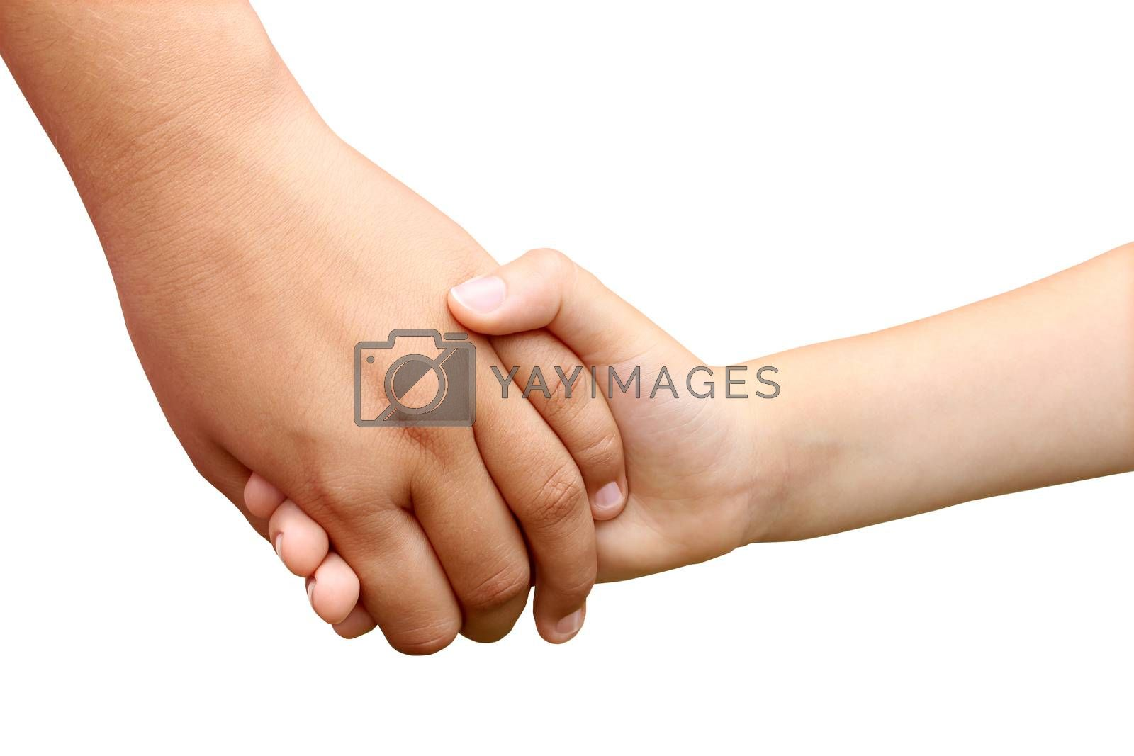 Children holding hands as a symbol of a brother and sister helping each other as siblings or school children in a grasp of unity isolated on white.