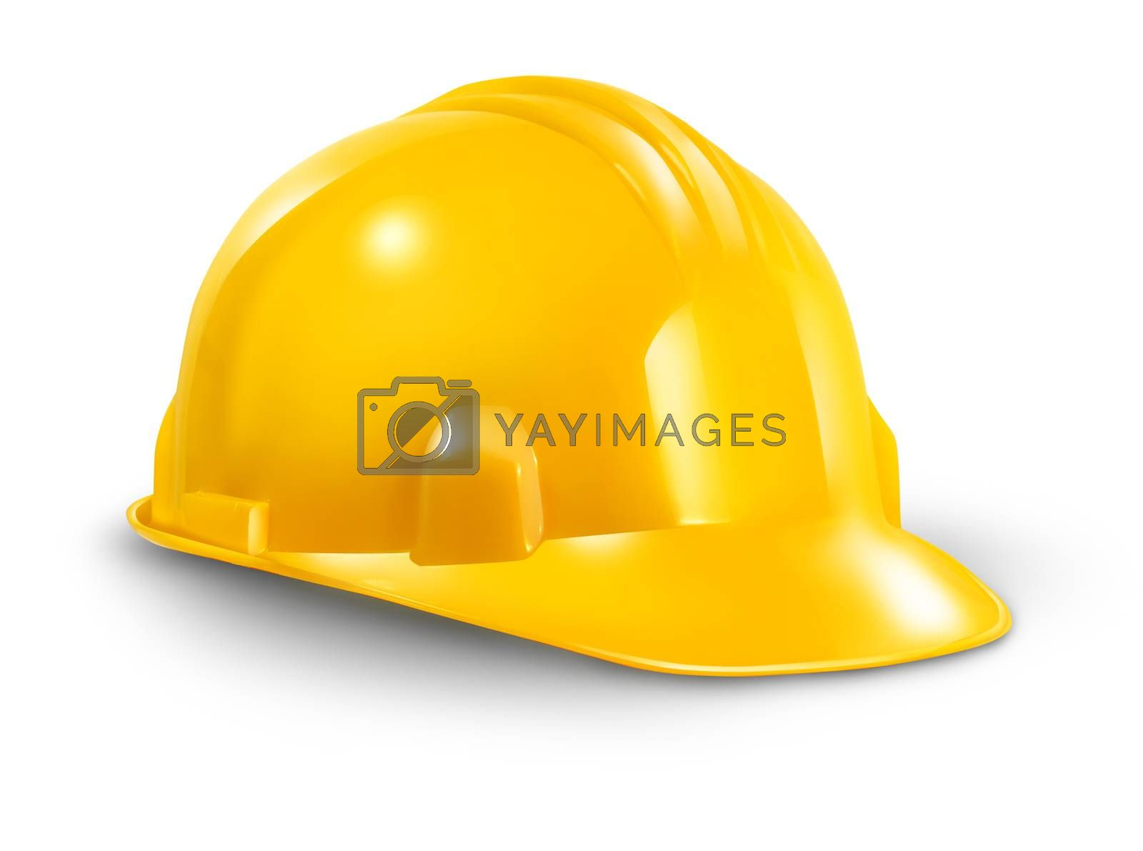 Construction hard hat as a work safety symbol of the renovations and home improvement builder industry on a white background.