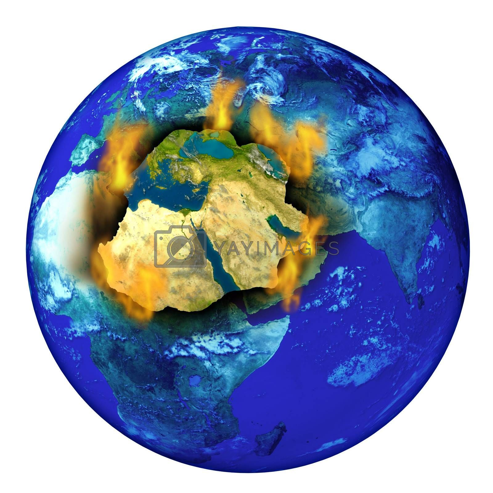 Middle East conflict with the planet earth burning with flames as a crisis concept of political crisis in countries as Syria Isreal Iran Egypt Iraq and Libya.