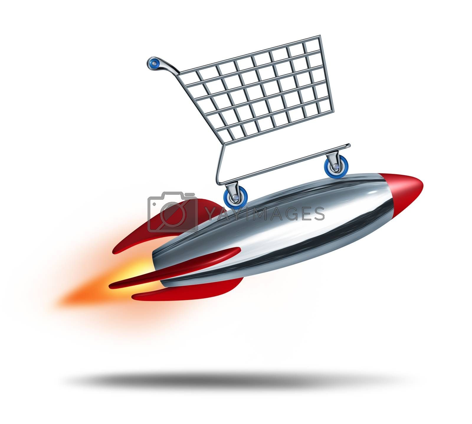 Speed shopping and quick check out concept with a shop cart flying in the air with a rocket blast as a symbol of fast consumer sales service on a white background.
