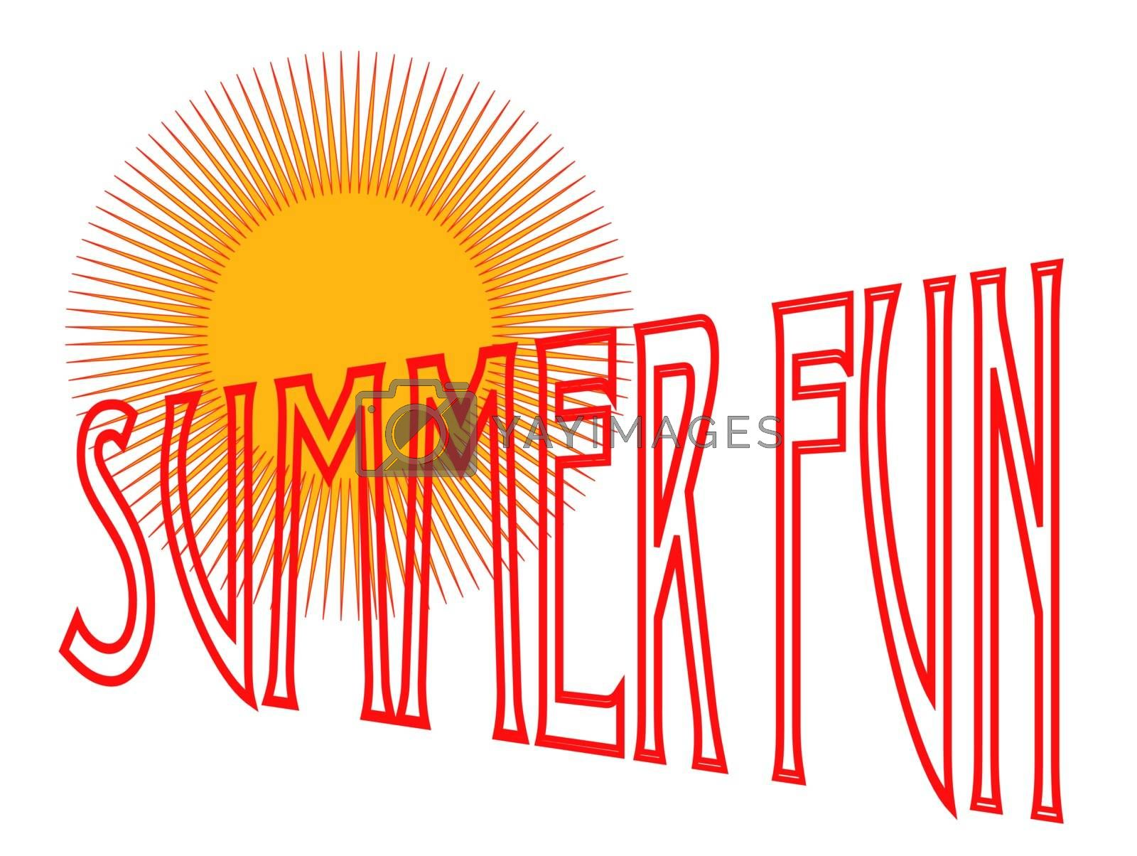 A summer fun poster type image, isolated over white.