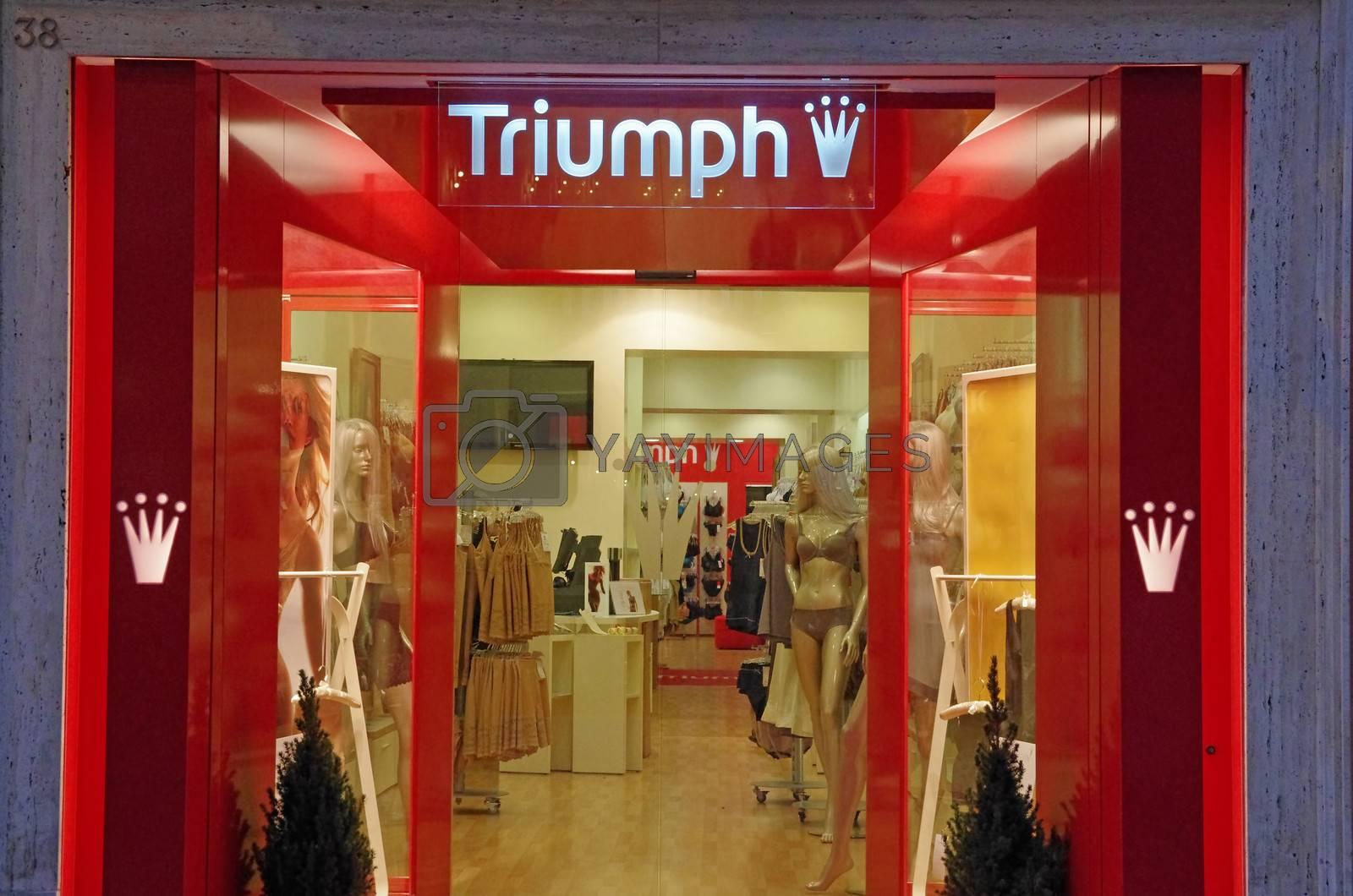 ROME, ITALY - MARCH 08: Triumph lingerie shop on Via del Condotti in Rome on March 08, 2011 in Rome, Italy