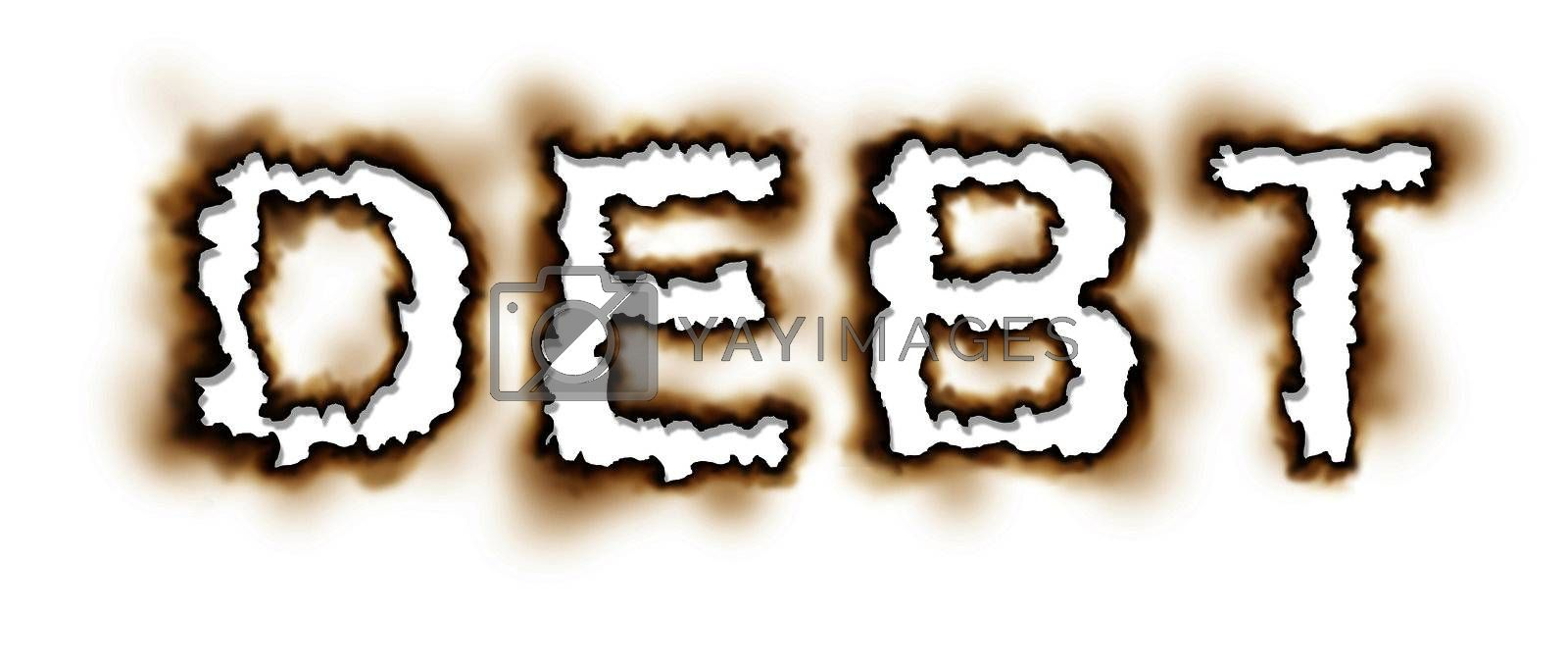 Burning Debt Problems and financial crisis concept with the word burnt as a hole in the paper as an icon of finance despair and credit stree on a white background.