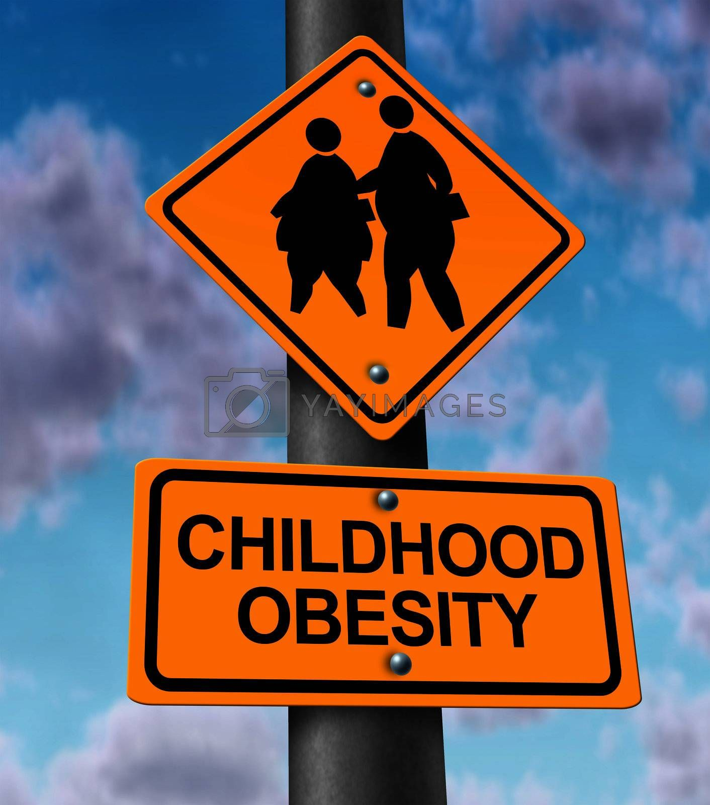 Childhood obesity concept with a traffic road sign showing an icon of overweight kids and young students as a warning to the hazards of eating junk food and fatty fast food.