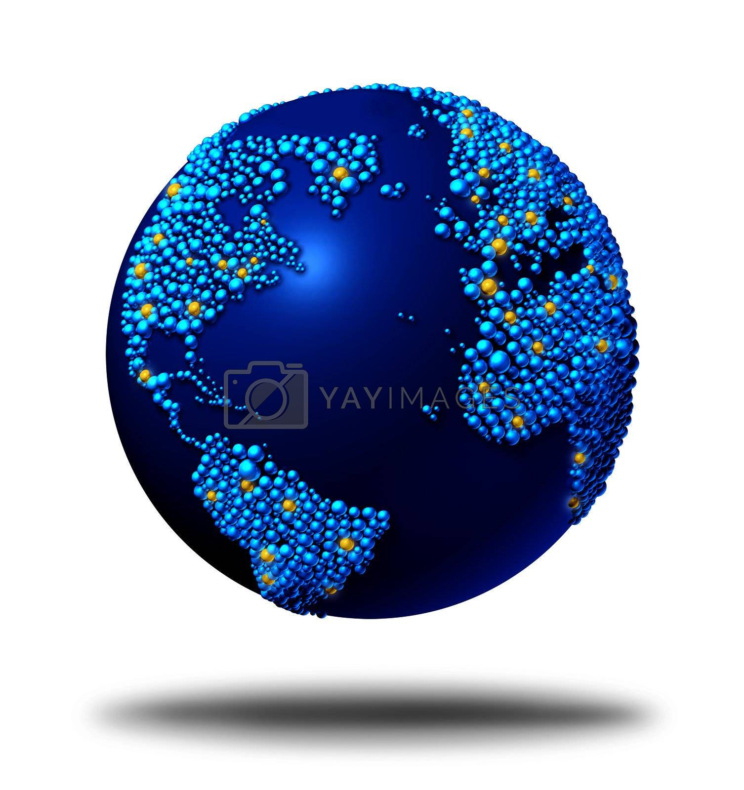 Global connections and communications symbol concept with a blue international globe of the worldmade of small globes around a sphere as a social exchange and trade icon for imports and exports.
