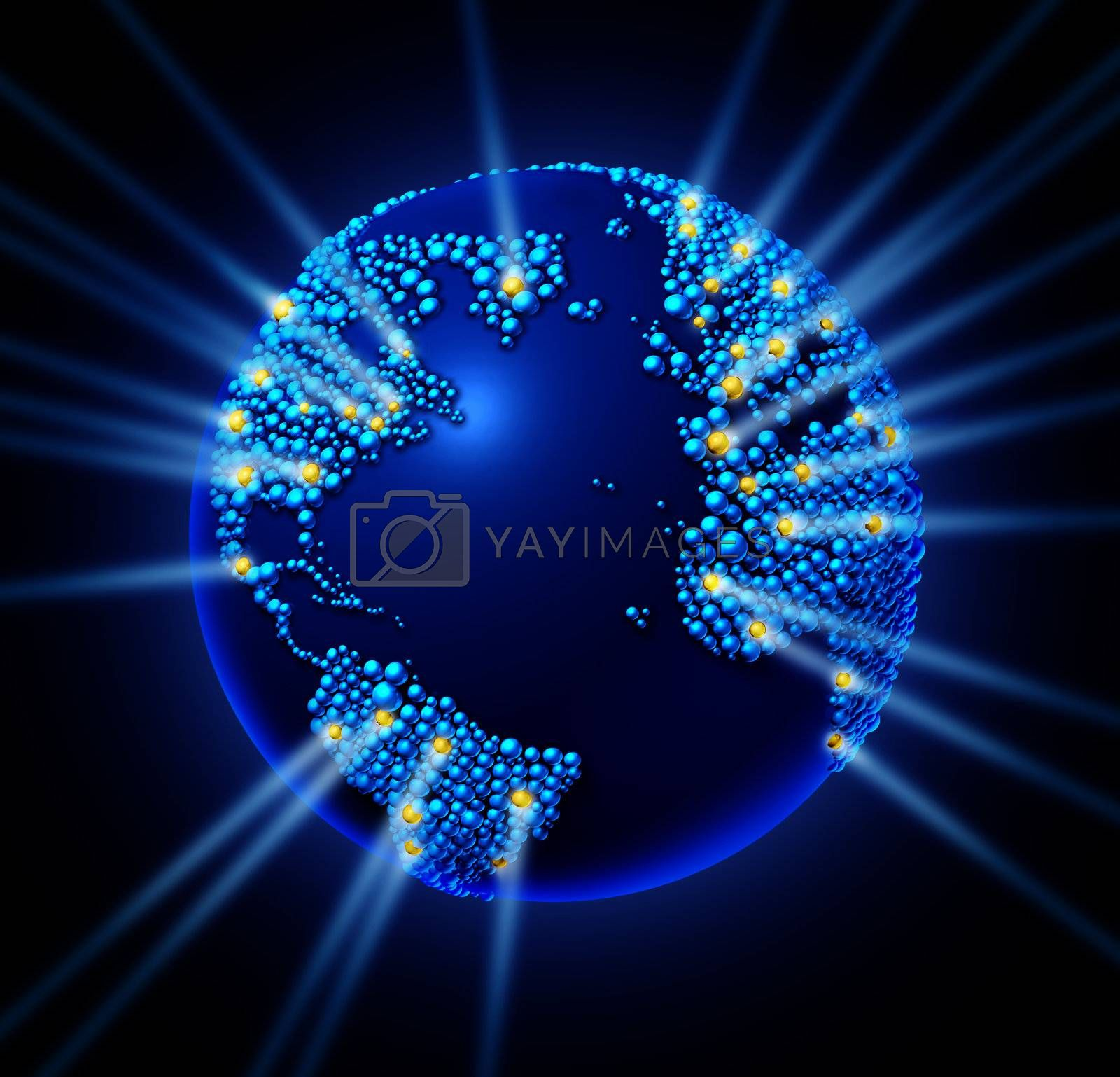 Global network world with the international map in the shape of small spheres with glowing laser lights as a technology icon and communication connections on a black background.