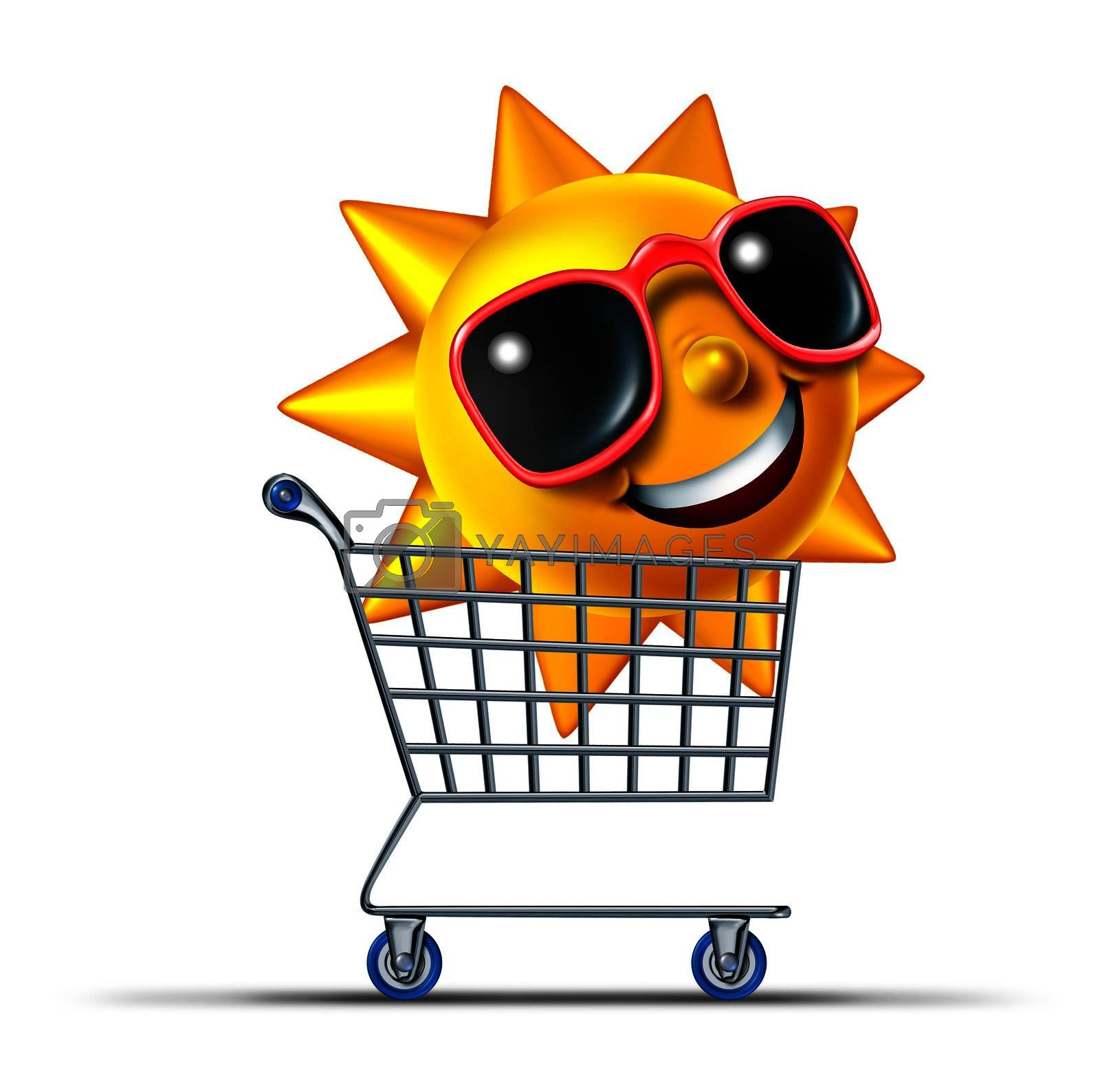 Vacation business tourism concept with a shopping cart and a fun summer sun character with sunglasses traveling to a hot destination for relaxation and leisure rest as a symbol of internet travel booking.