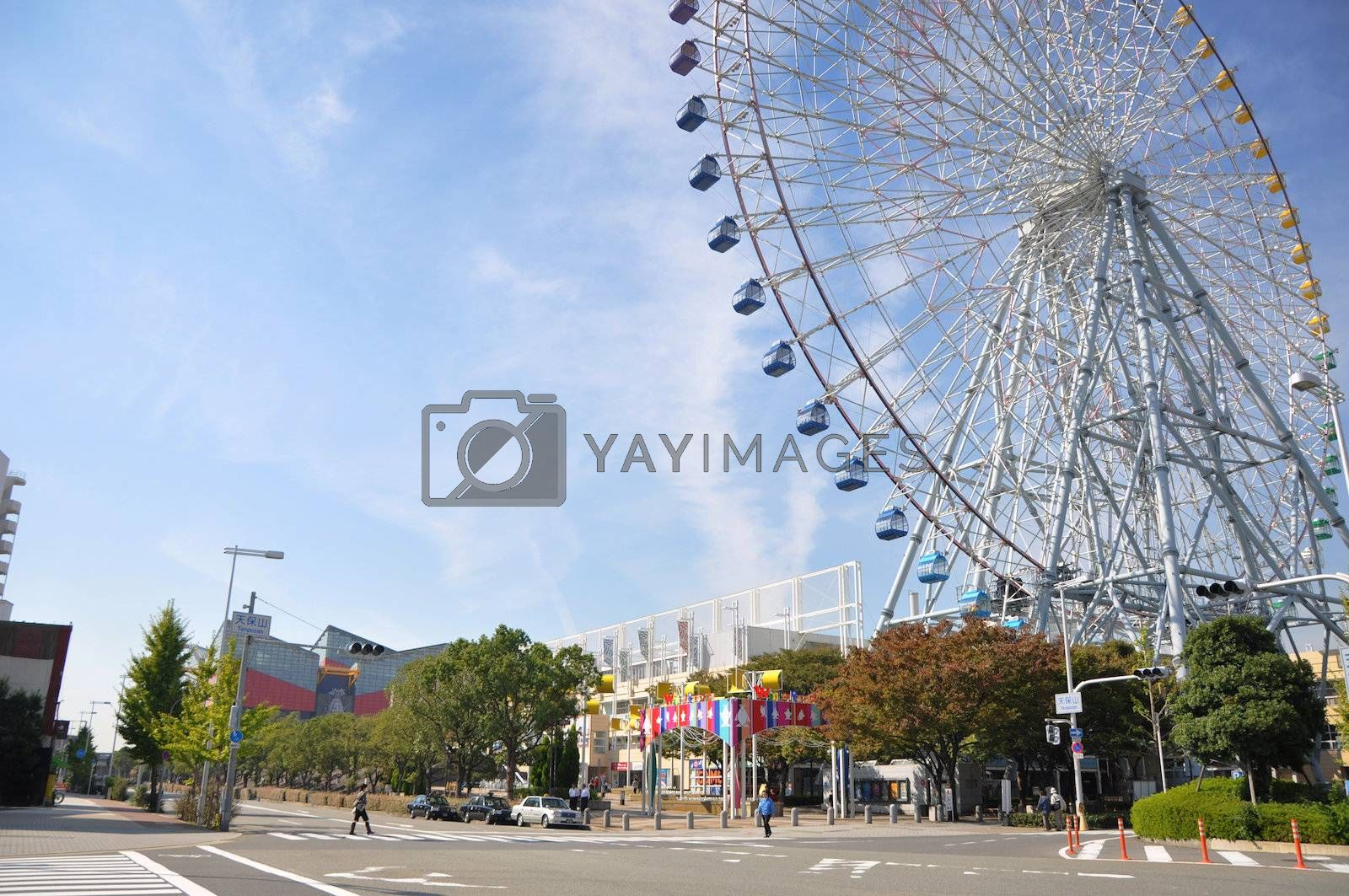 KYOTO- OCT 23: Ferris wheel in Tempozan Harbor Village - Osaka, Japan on October 23 2012.