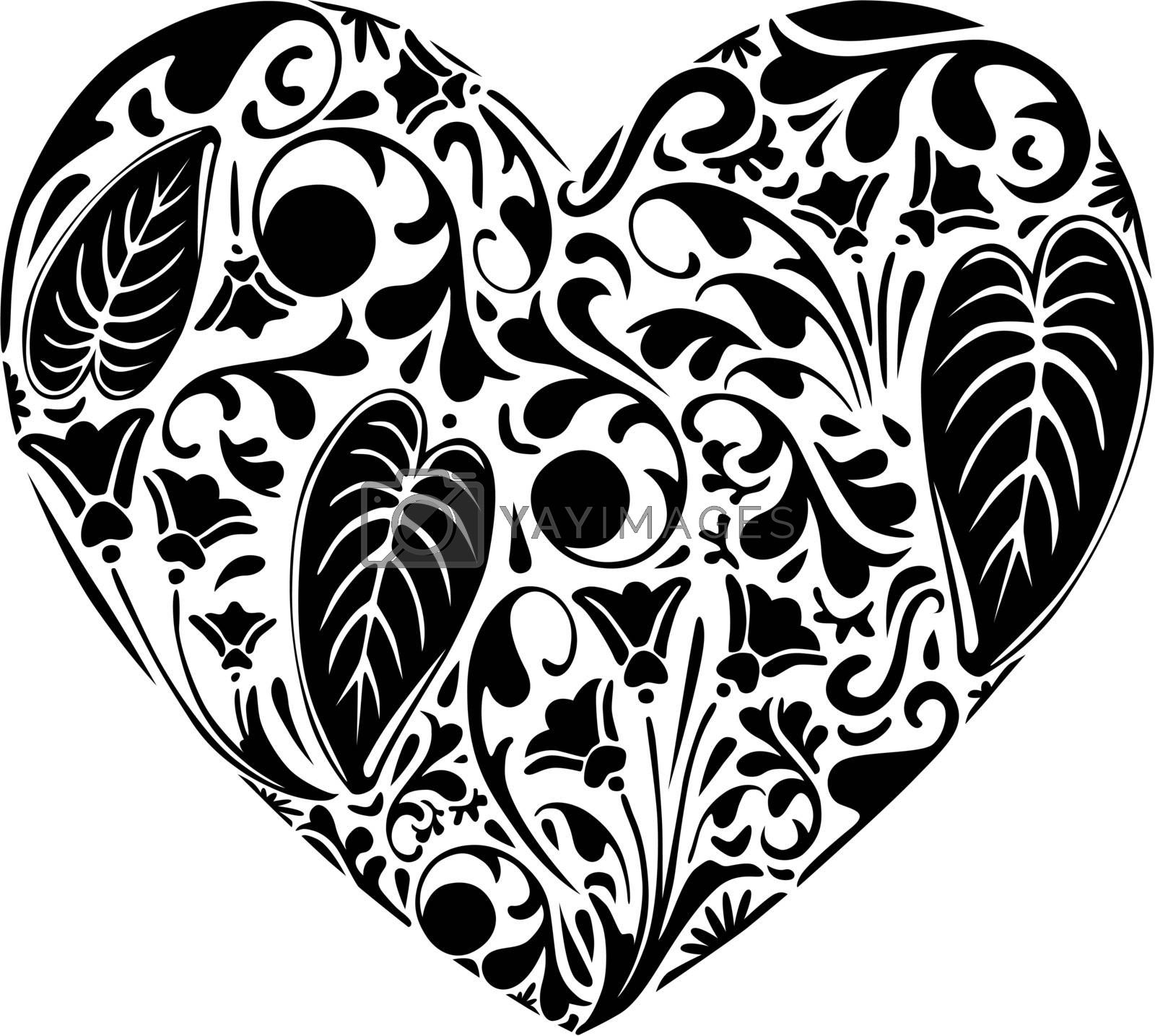 Heart made of floral elements